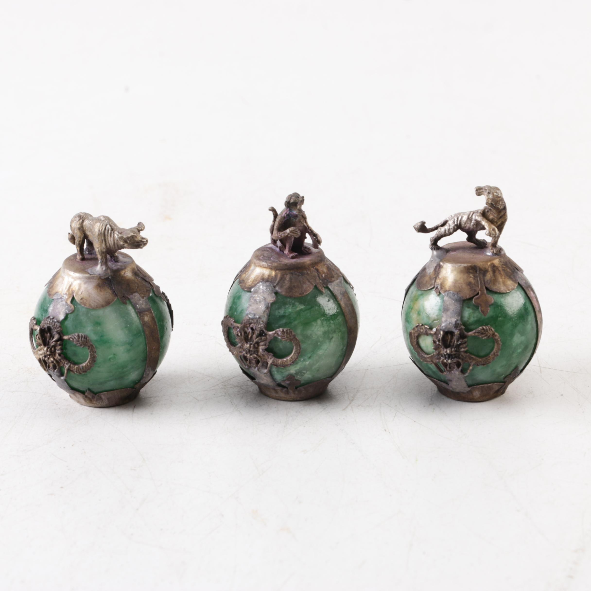 Brass and Calcite Decorative Orbs