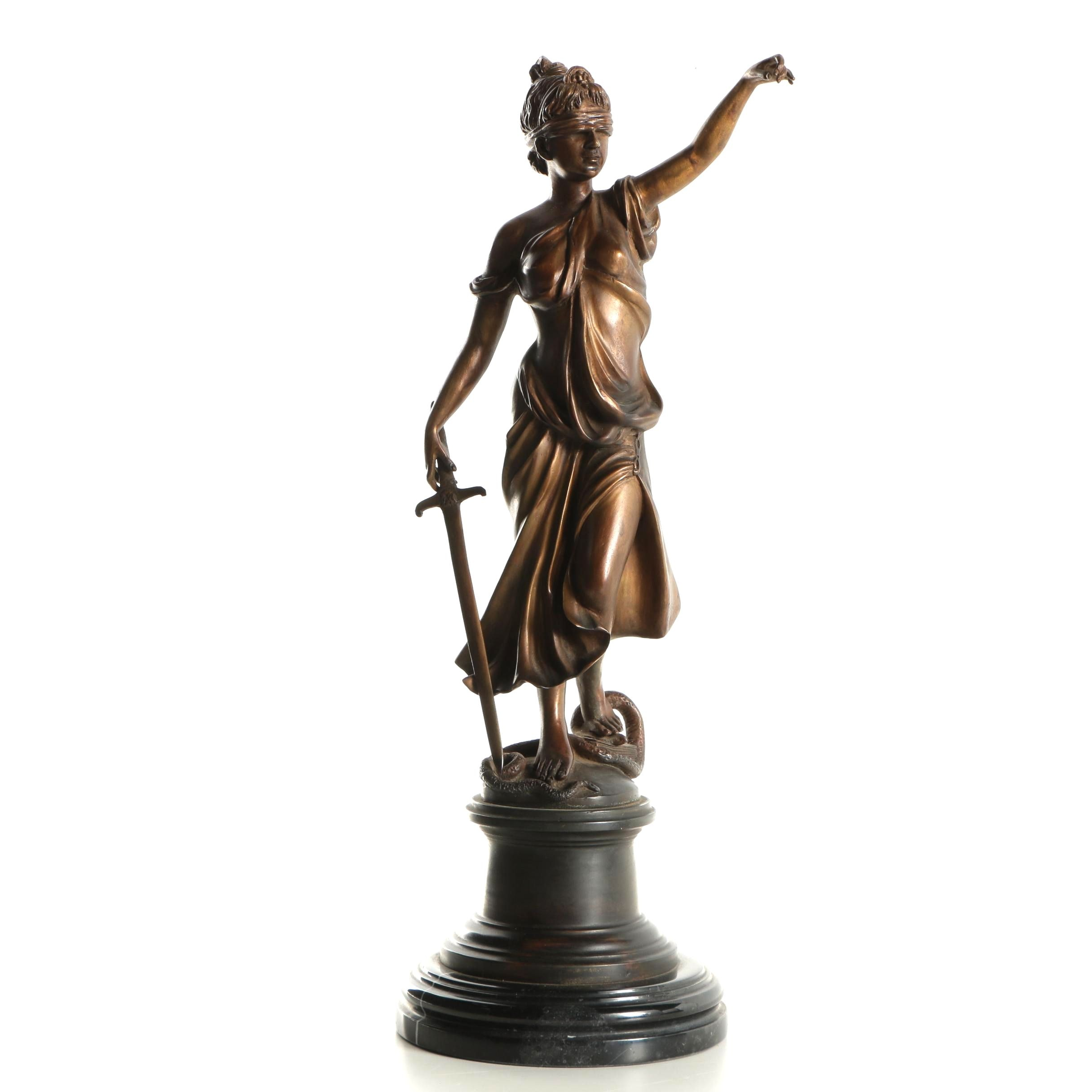 Brass Sculpture of Lady Justice