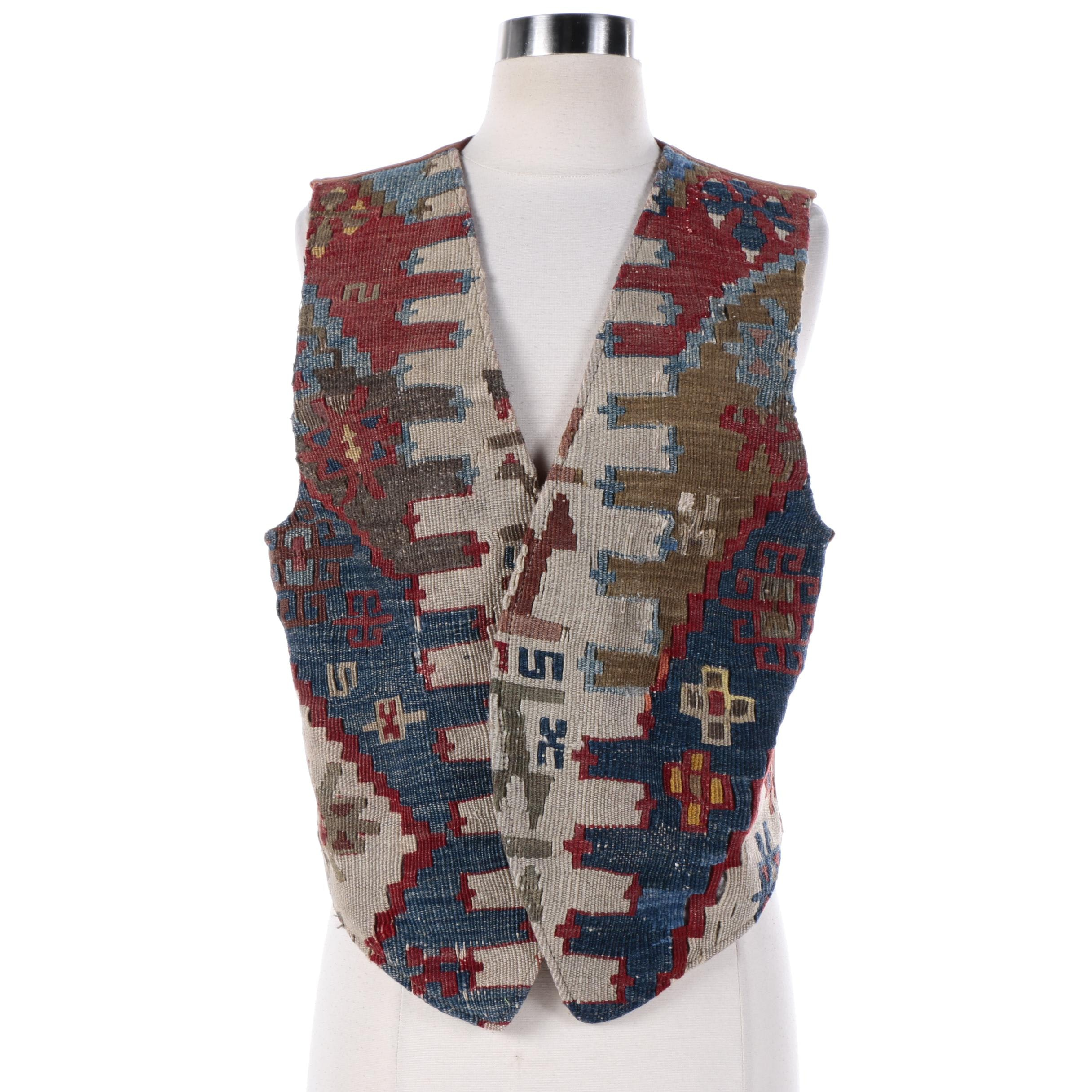 Women's The Nomadic Collection Suede Vest with Repurposed Handwoven Kilim Front