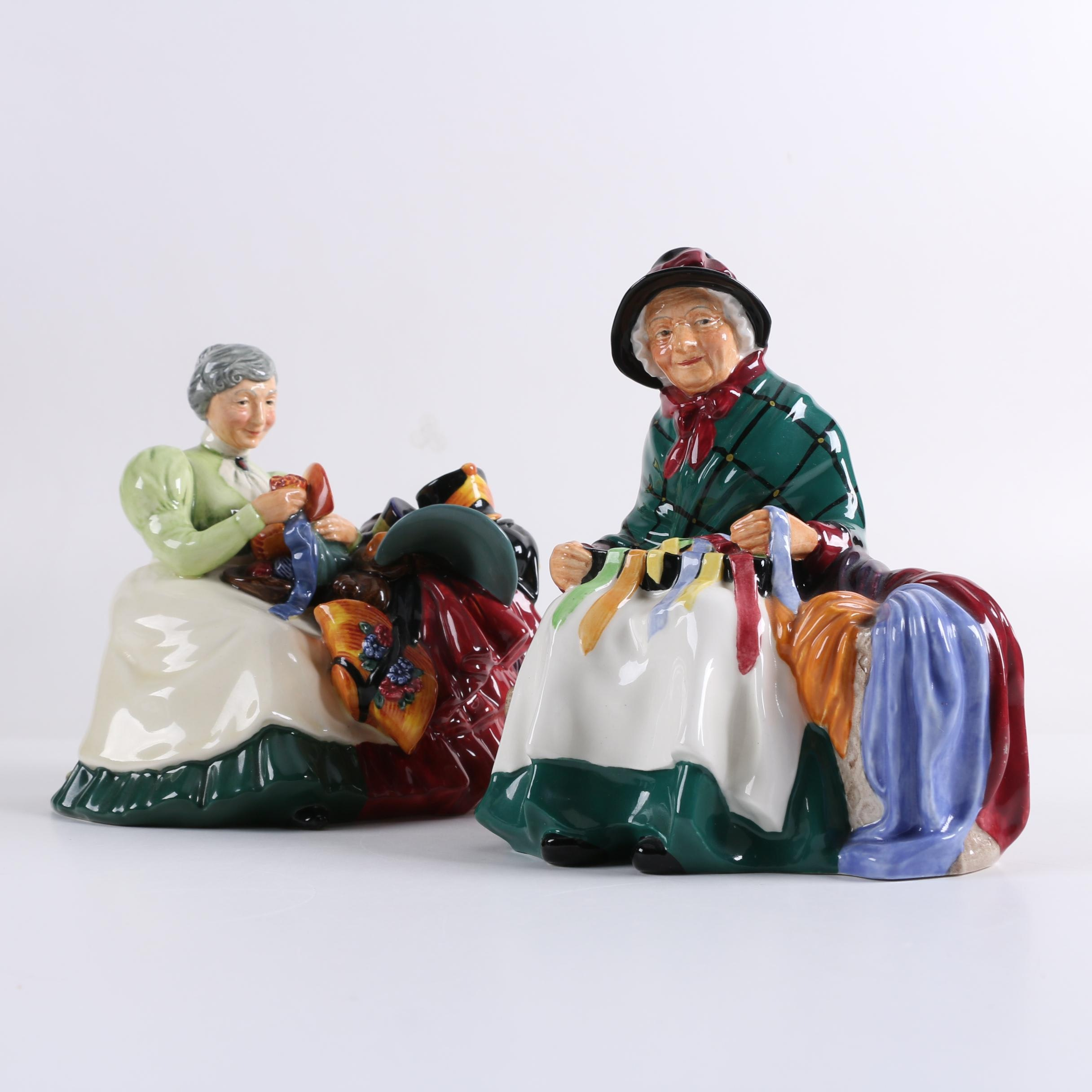 """Royal Doulton """"Silks and Ribbons"""" and The Wardrobe Mistress"""" Figurines"""