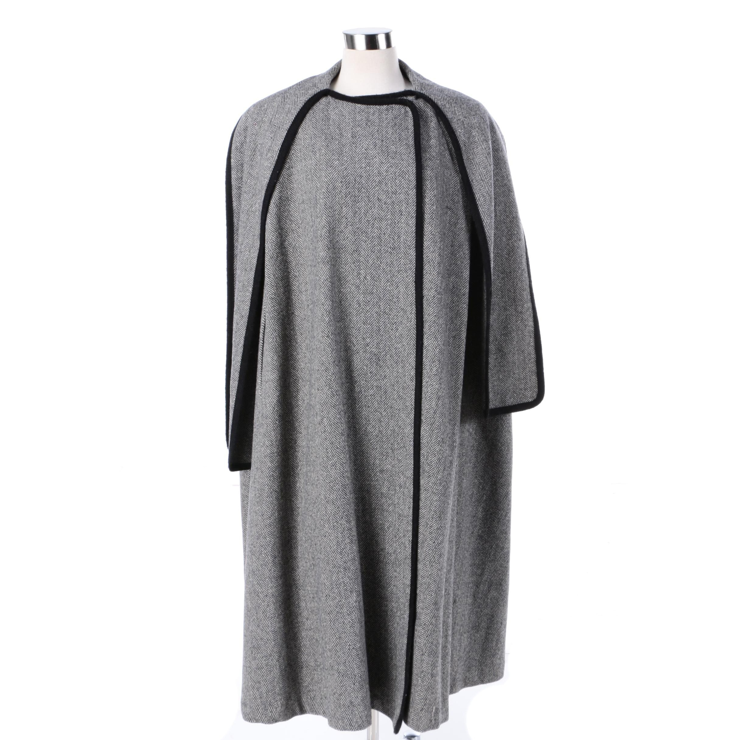 Women's Vintage Alorna Wool Blend Herringbone Cape