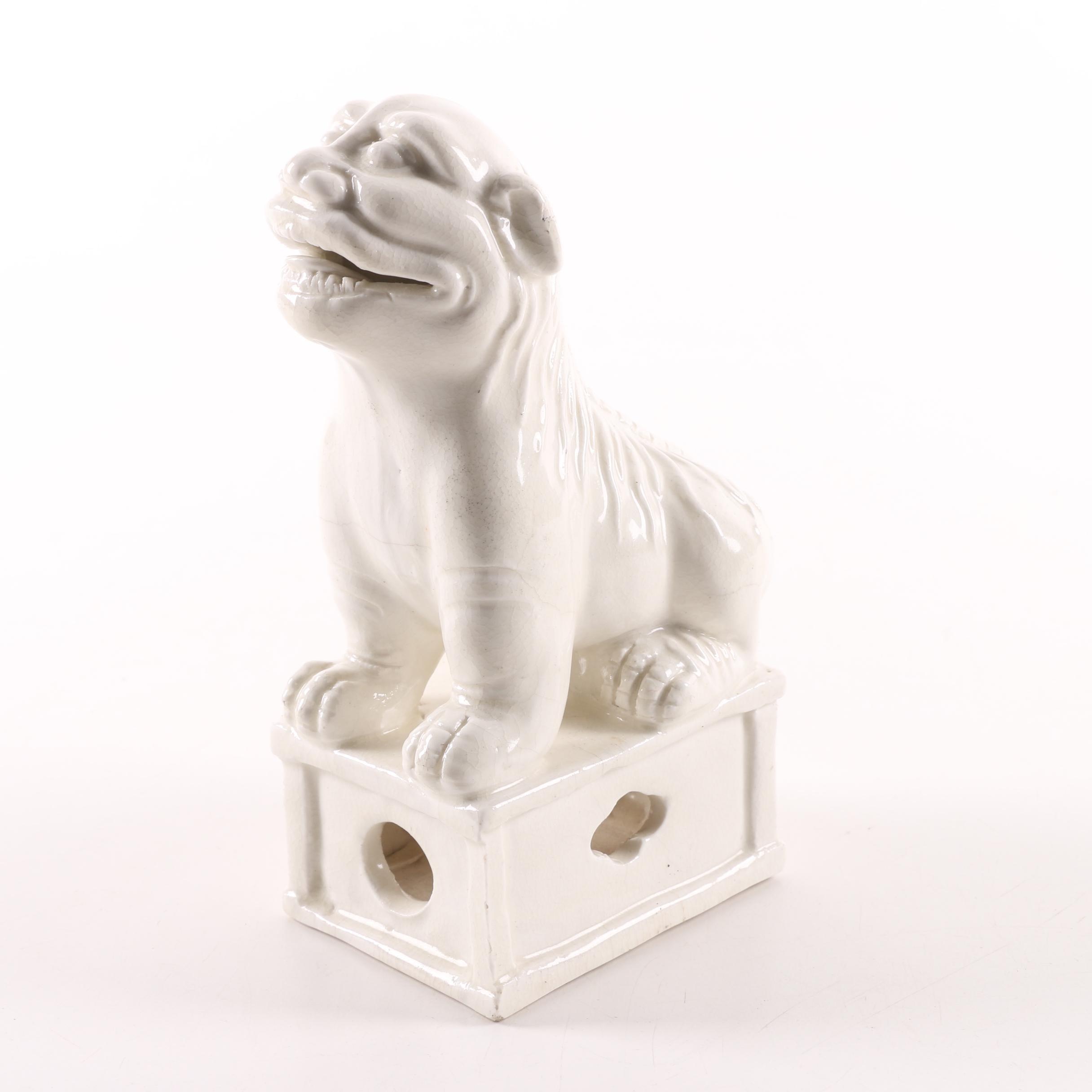 Chinese Guardian Lion Ceramic Figurine