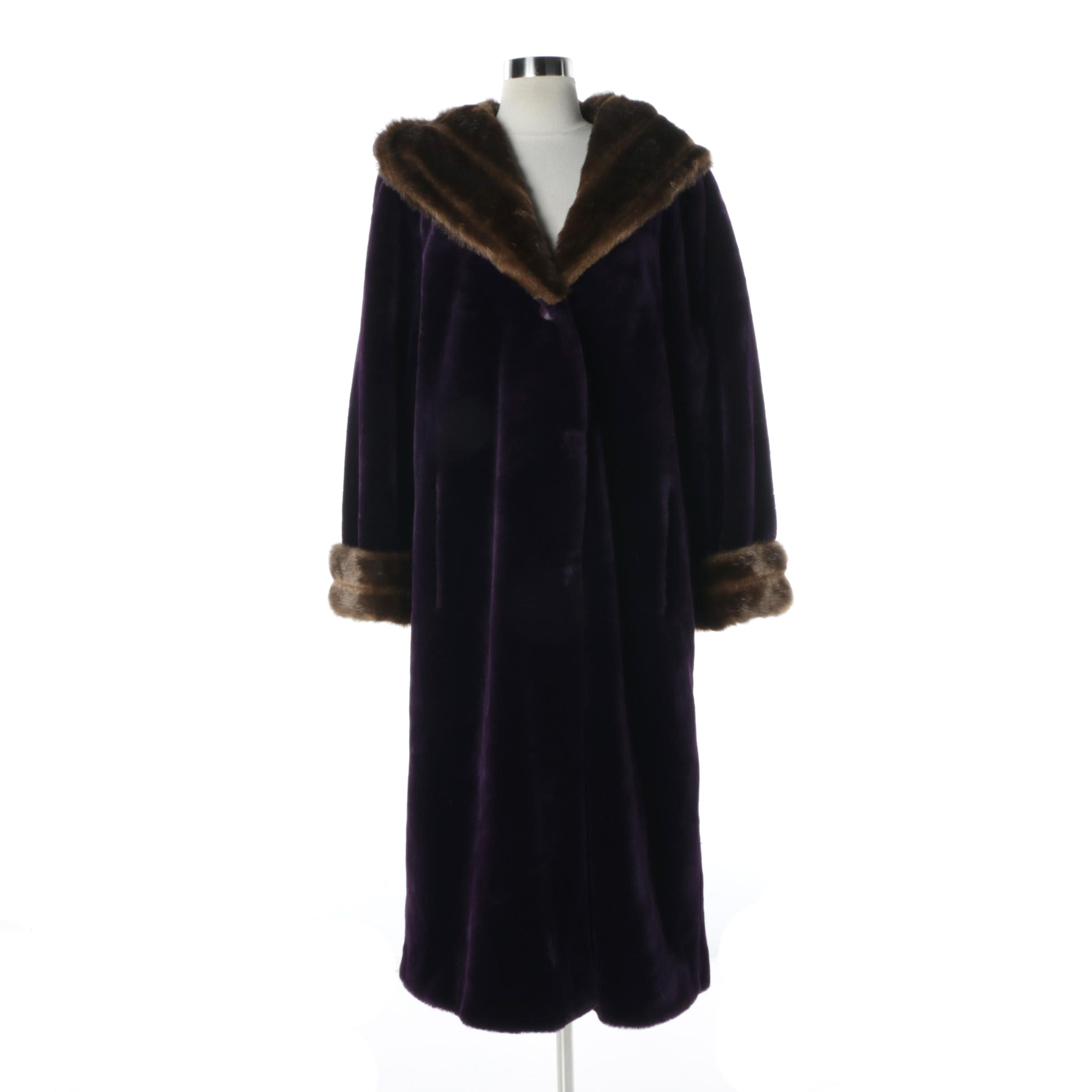 Terry Lewis Velvet Royal Purple Faux Fur Hooded Coat