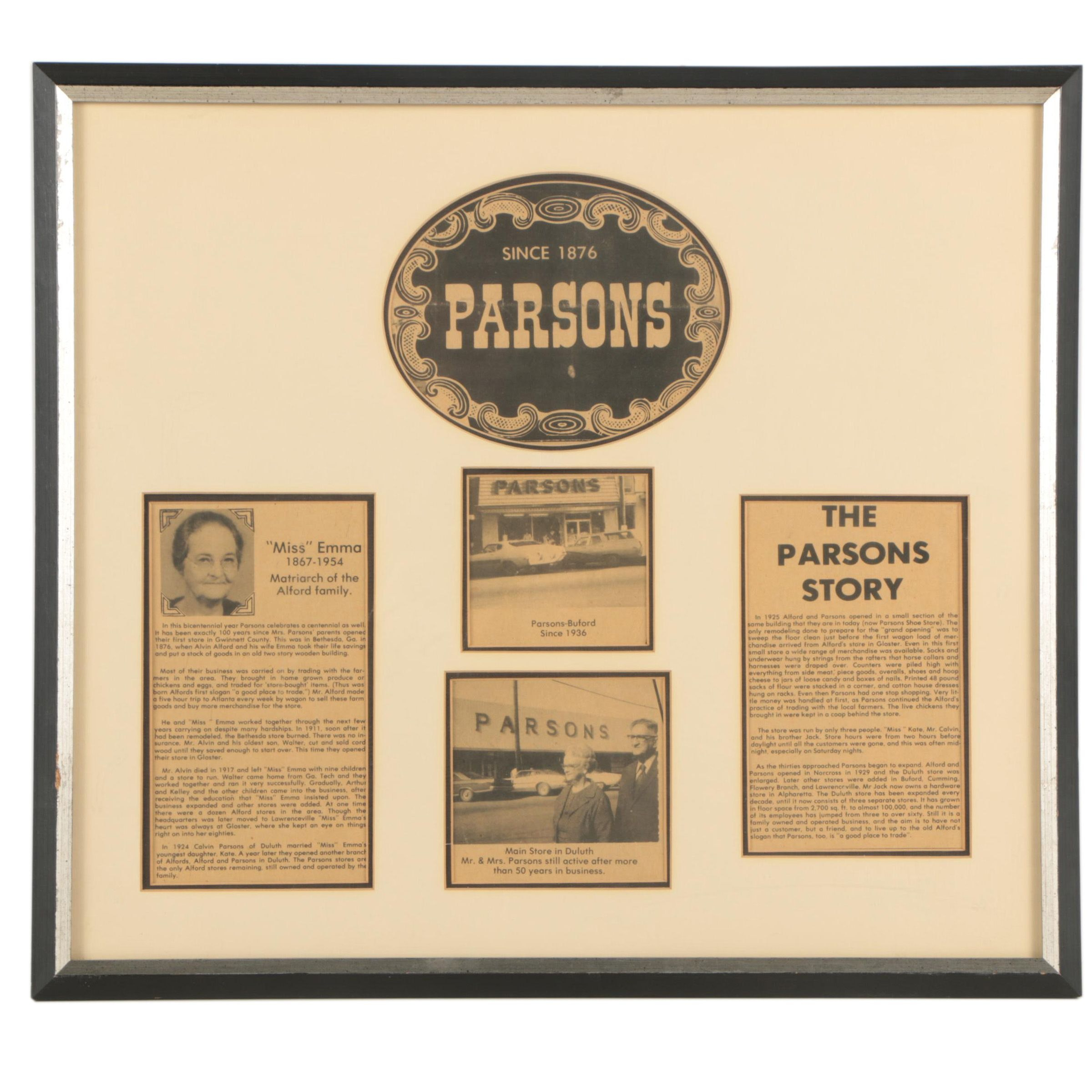 Framed Articles and Photos of C.H. Parsons Co. of Ashland, Kentucky