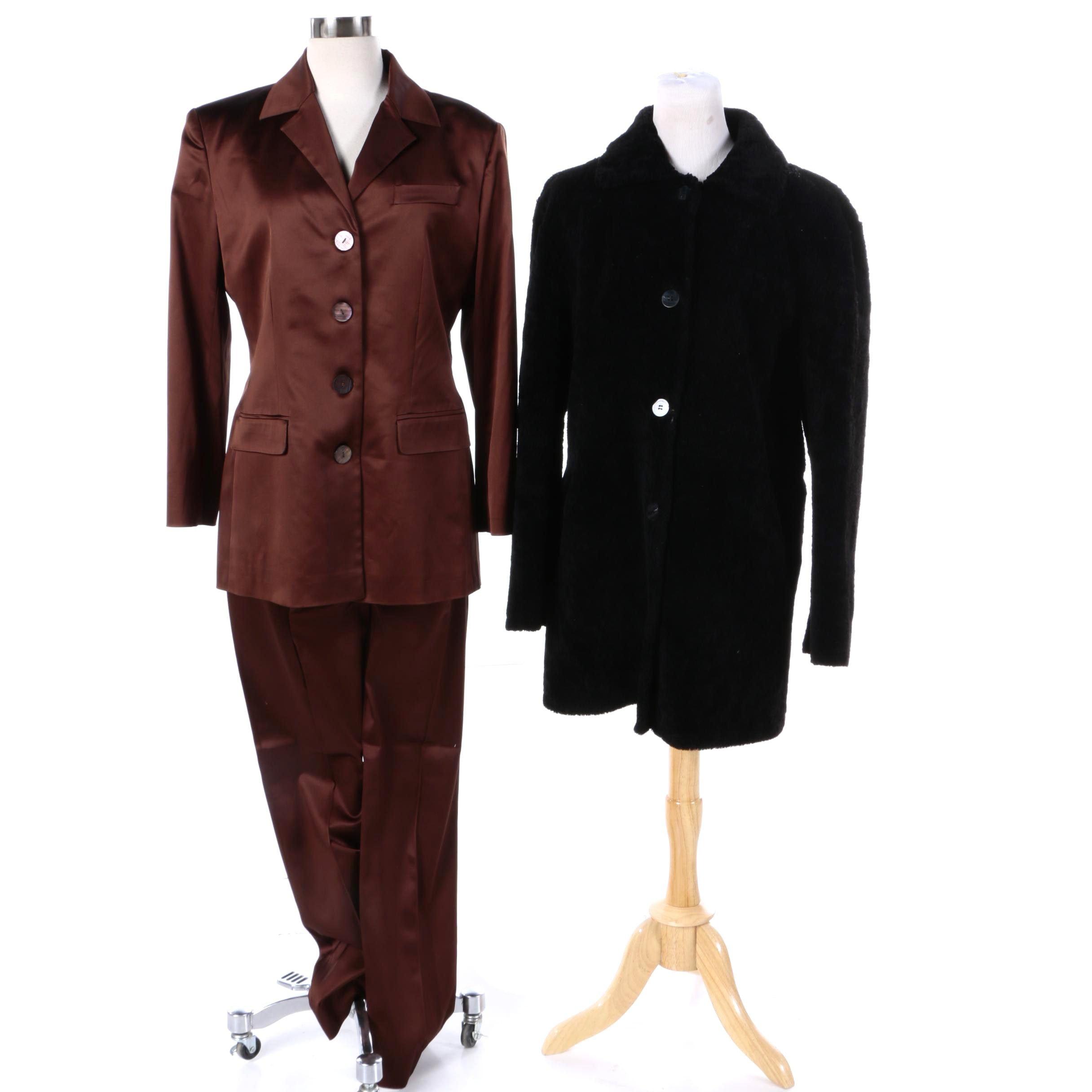 Women's Siena Studio Black Shearling Fur Coat and Mondrian Satin Pantsuit