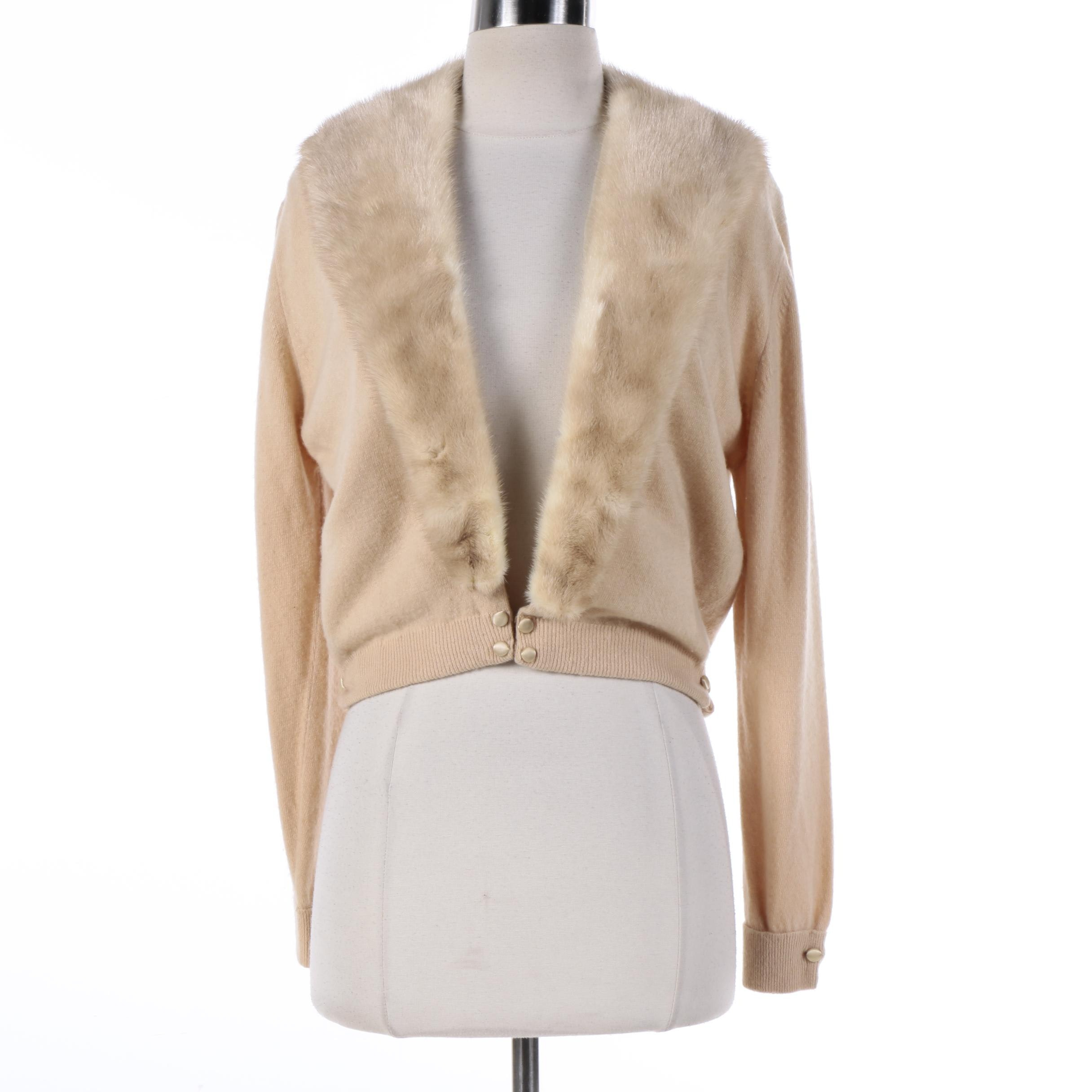 Vintage Beige Cashmere Sweater with Mink Fur Collar