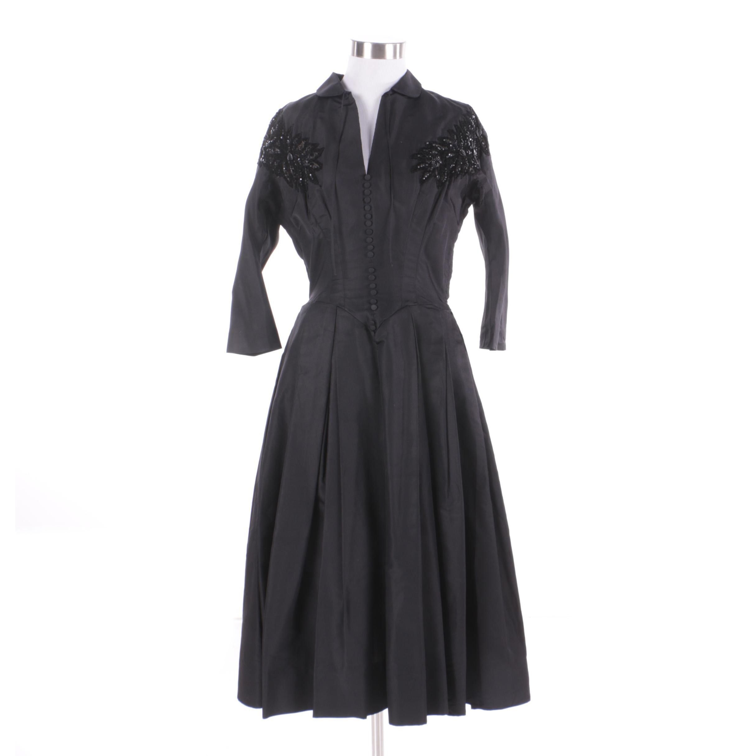 Circa 1950s Vintage Black Cocktail Dress with Embellished Mesh Accents