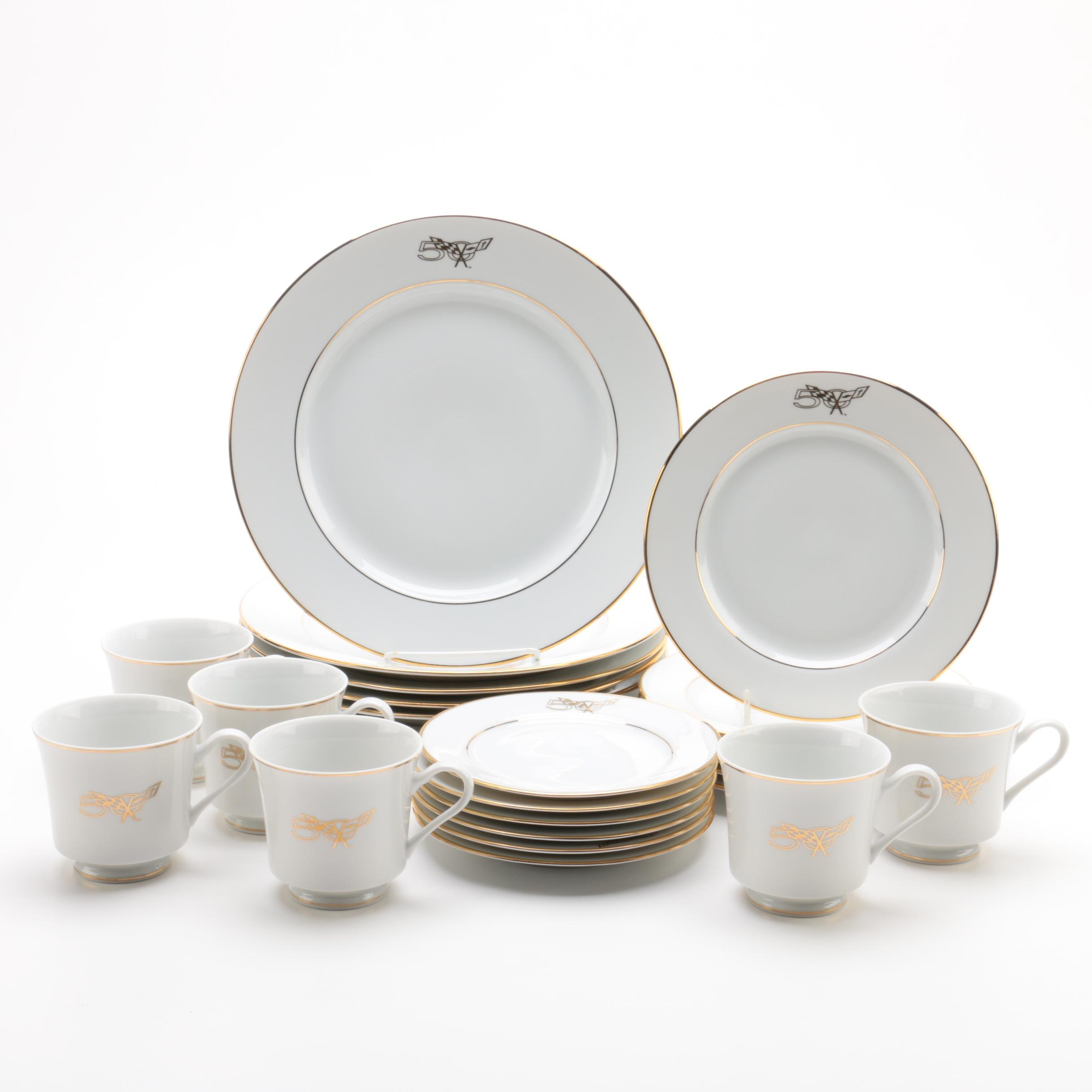 sc 1 st  EBTH.com & Porcelain Dinnerware Commemorating the 50th Anniversary of Corvette ...
