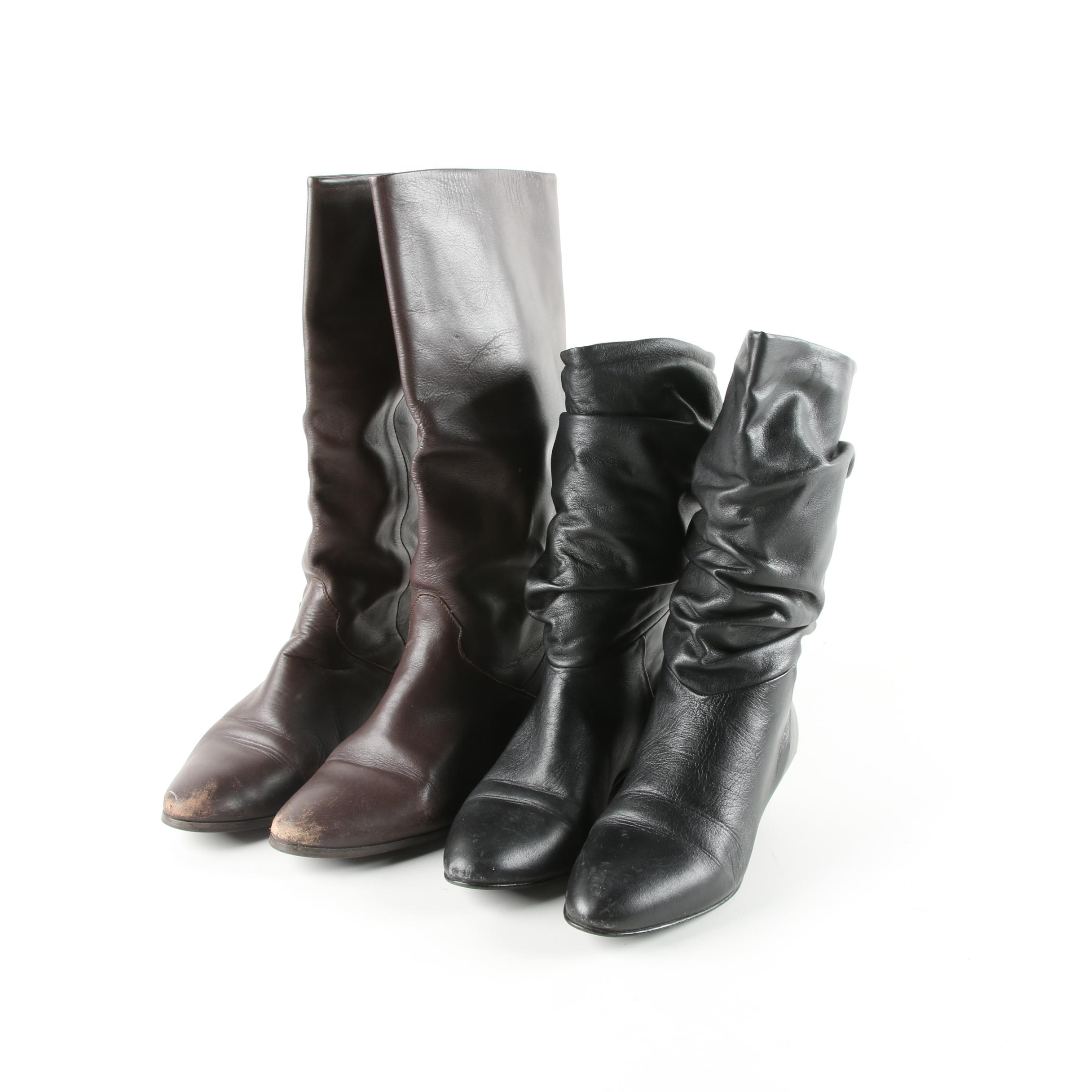 Women's Black and Brown Leather Boots