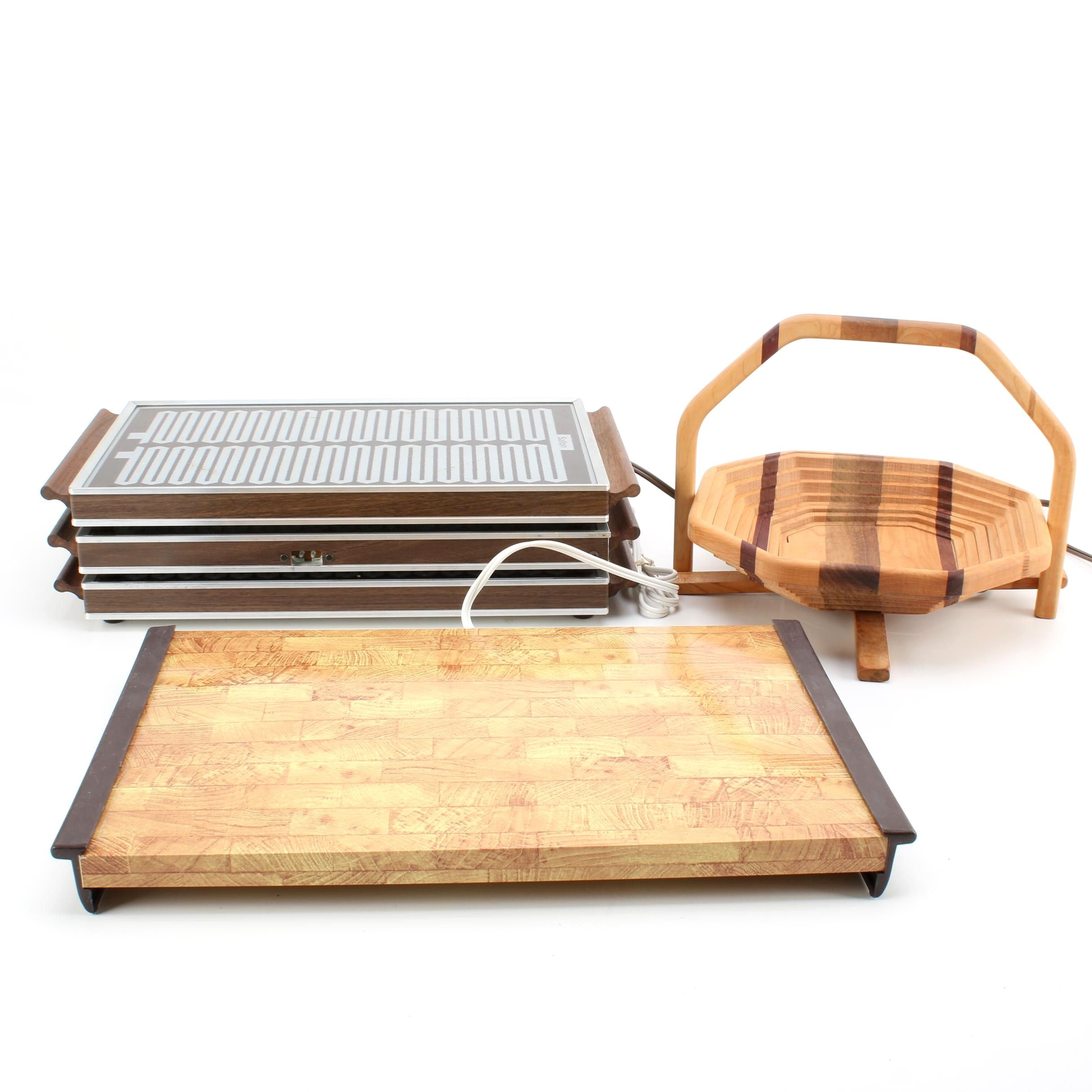 Warm-O-Tray and Salton Hotray Food Wamers and Wood Fruit Basket