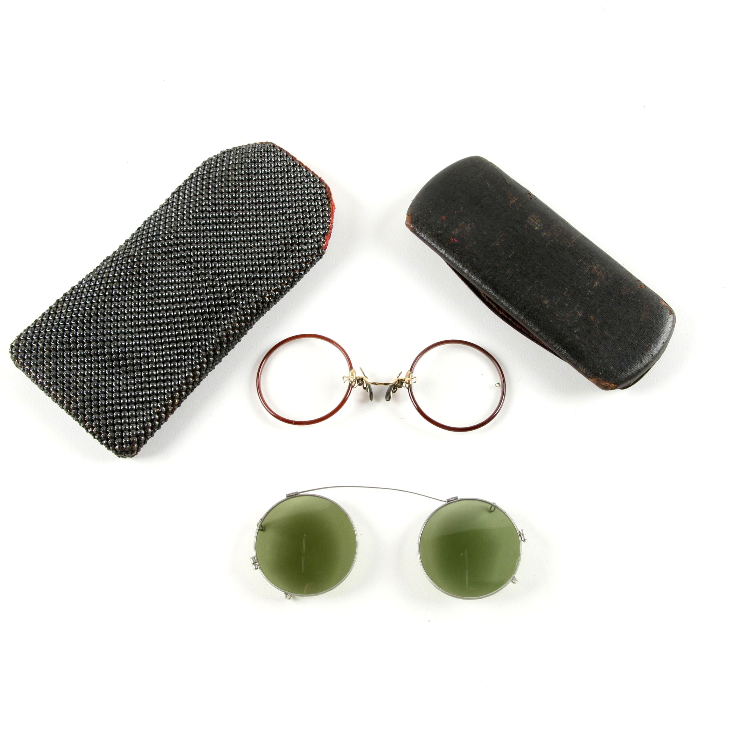 Antique Round Rim Pince Nez Gold-Filled Eyeglasses and Clip-On Sunglasses