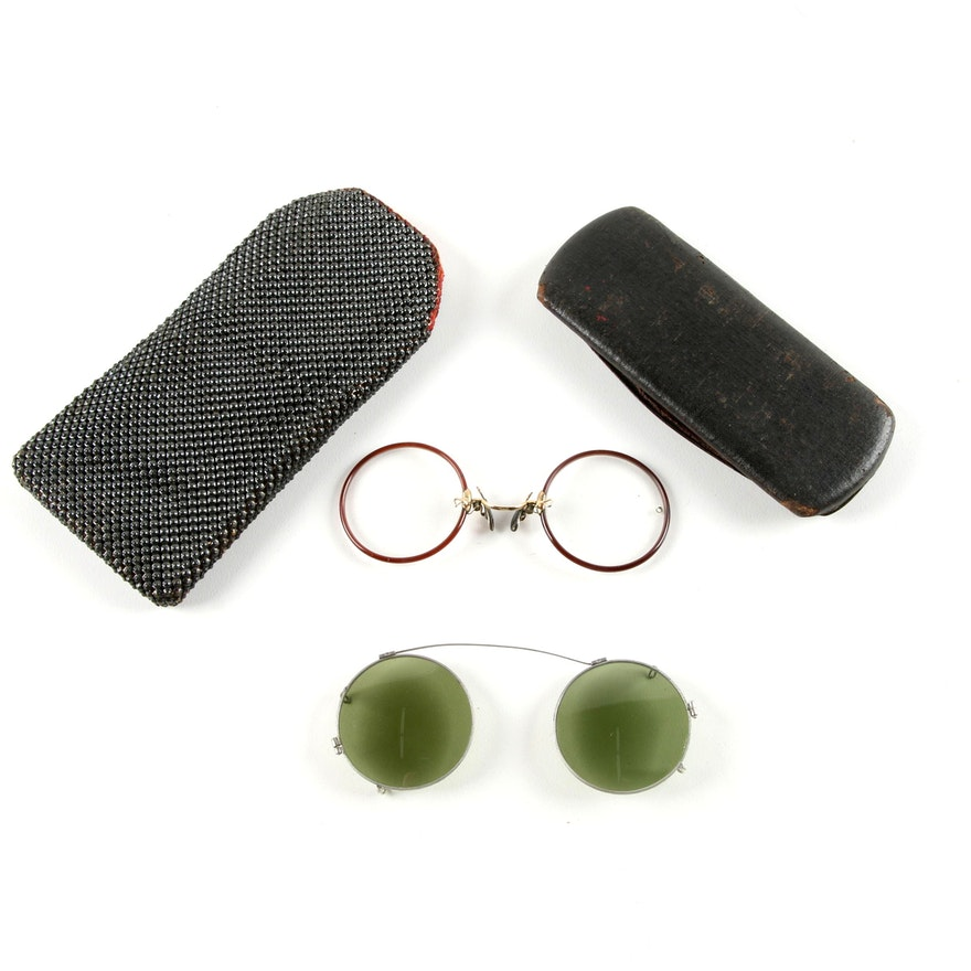4220a6b1f5c Antique Round Rim Pince Nez Gold-Filled Eyeglasses and Clip-On Sunglasses    EBTH