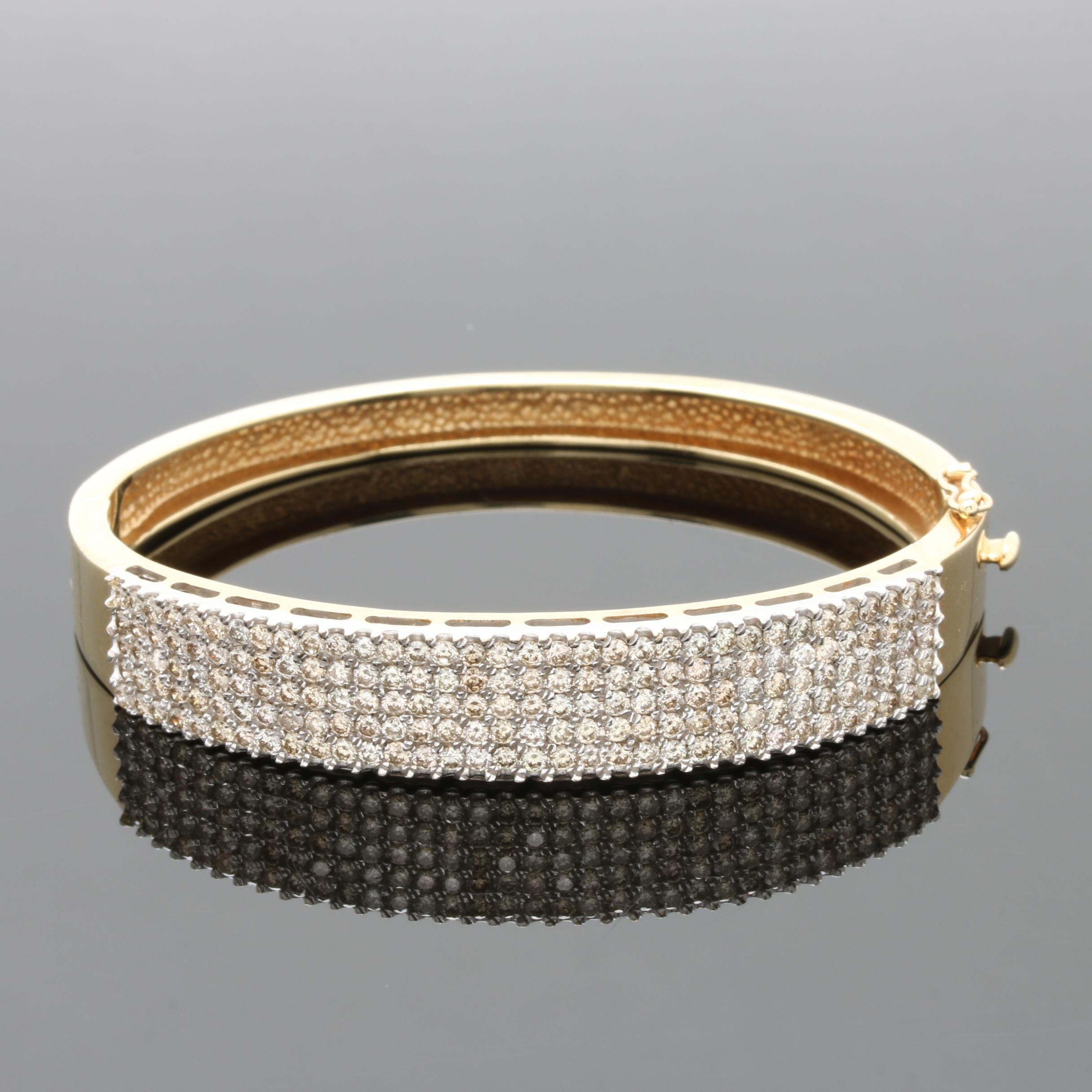 14K Yellow Gold 4.00 CTW Diamond Bangle Bracelet