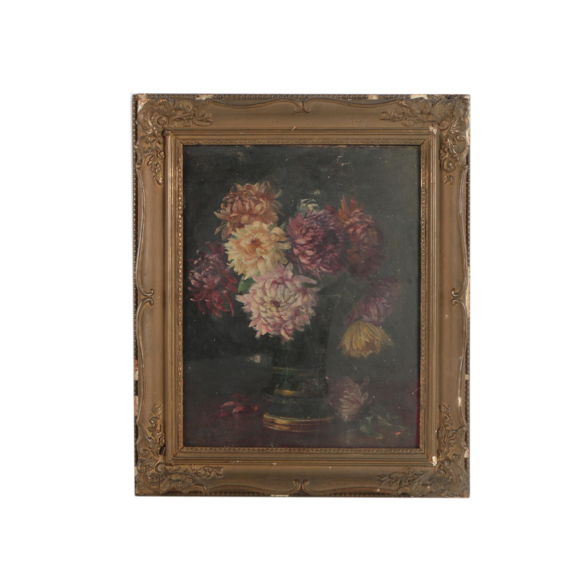 Vintage Oil Painting of Chrysanthemums