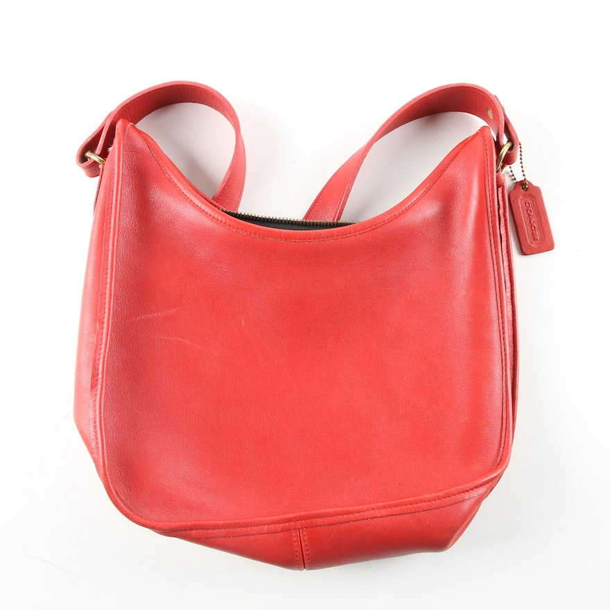 Circa 1985 Coach Red Leather Hobo Bag   EBTH 5f0db3bf85802