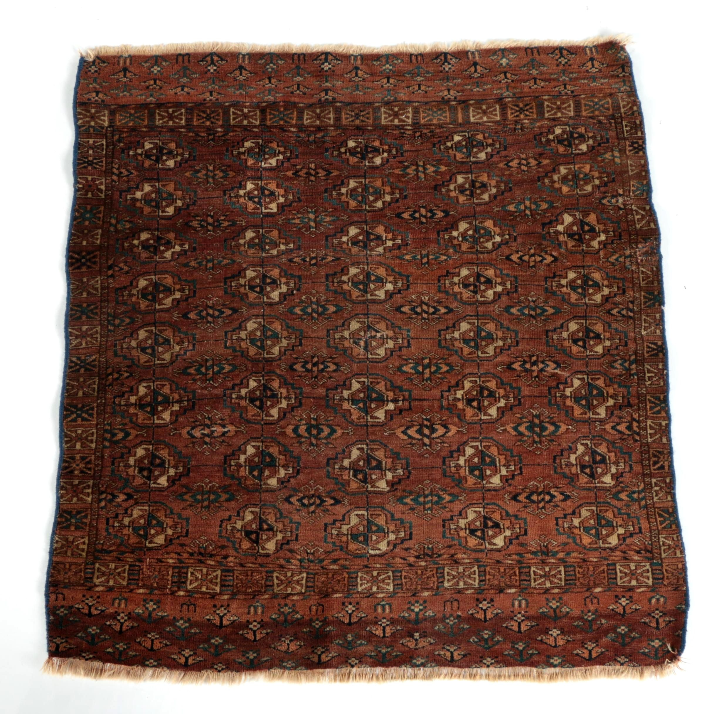 Semi-Antique Hand-Knotted Turkmen Tribal Wool Accent Rug