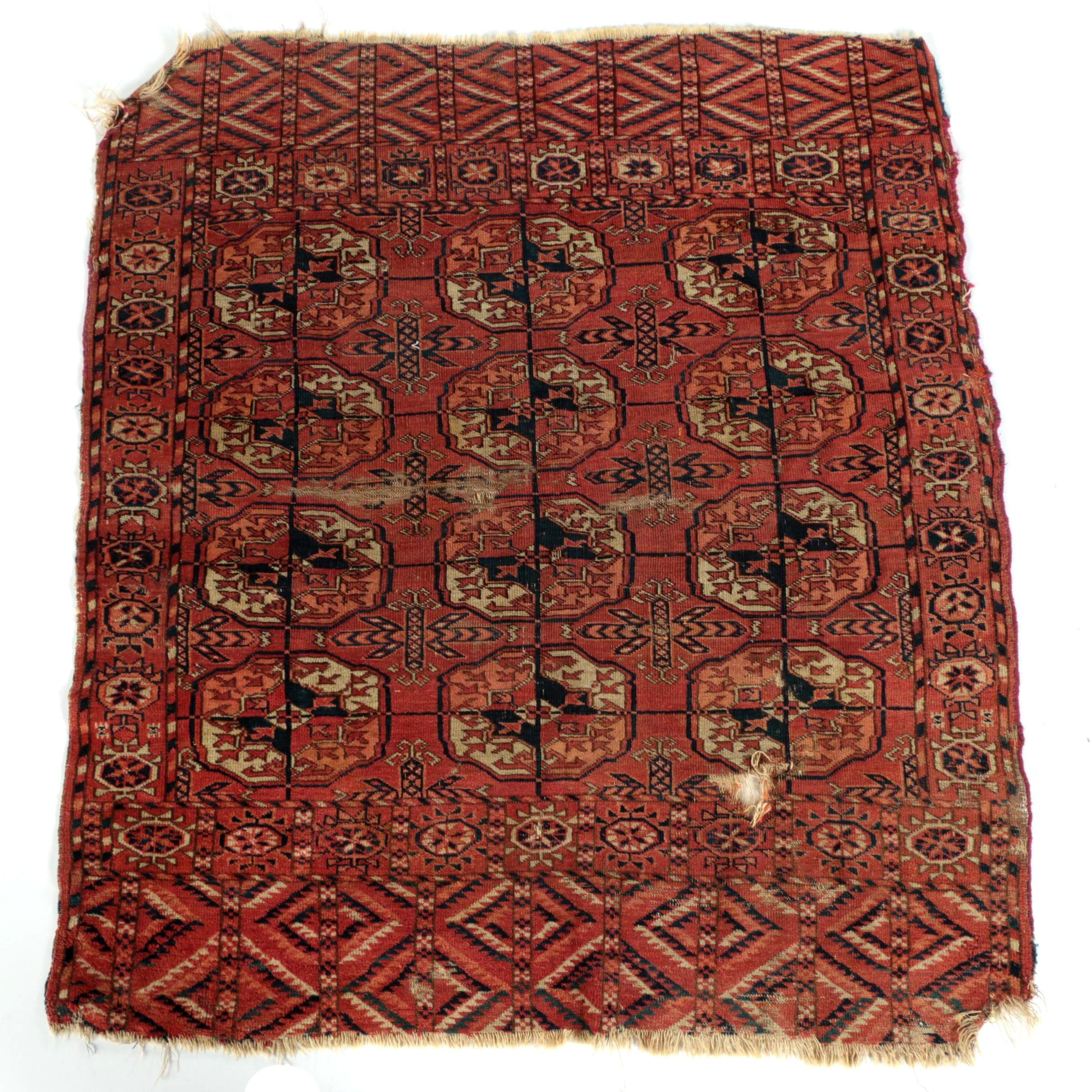 Antique Hand-Knotted Tekke Bokhara Tribal Accent Rug