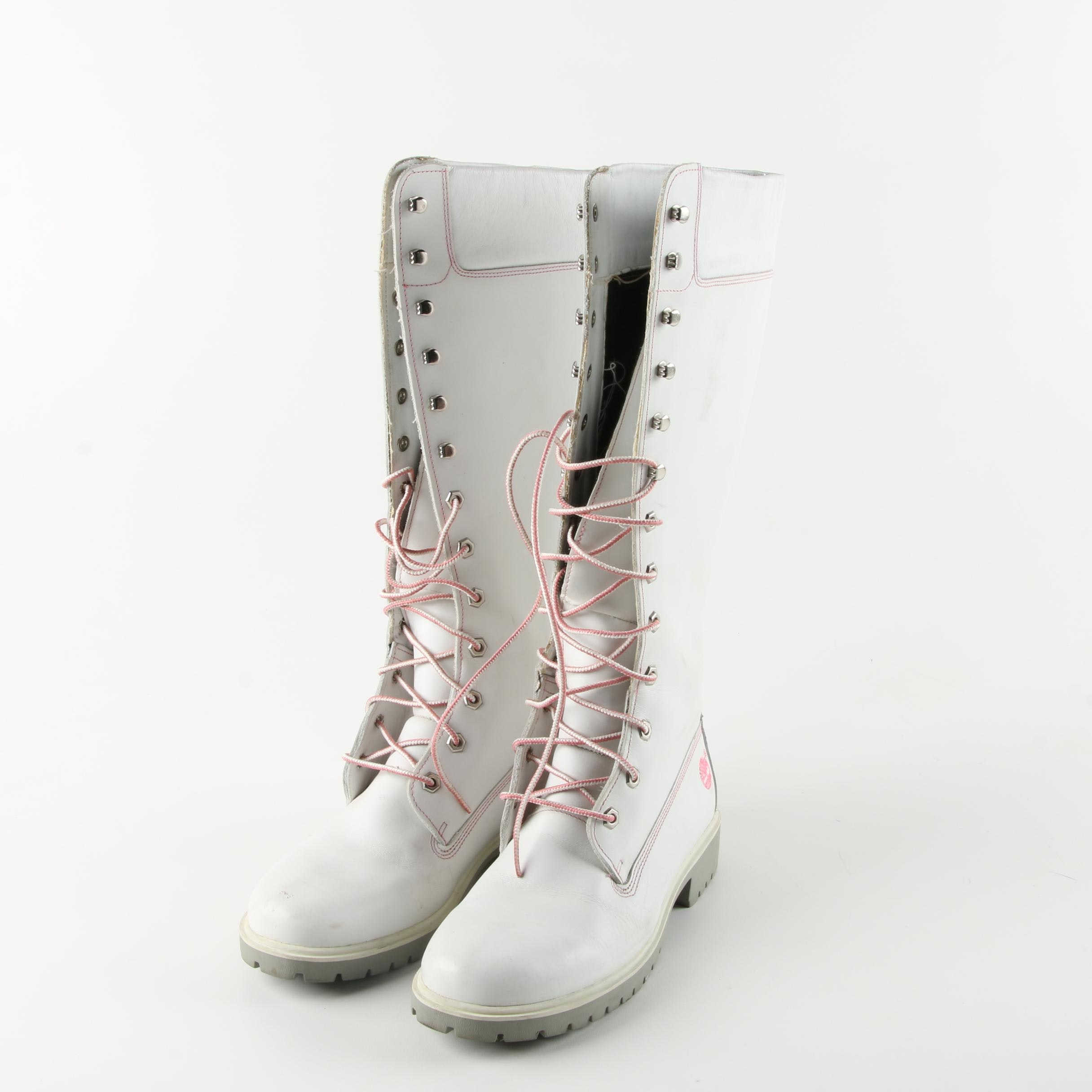Timberland White Leather Boots with Pink Embroidery