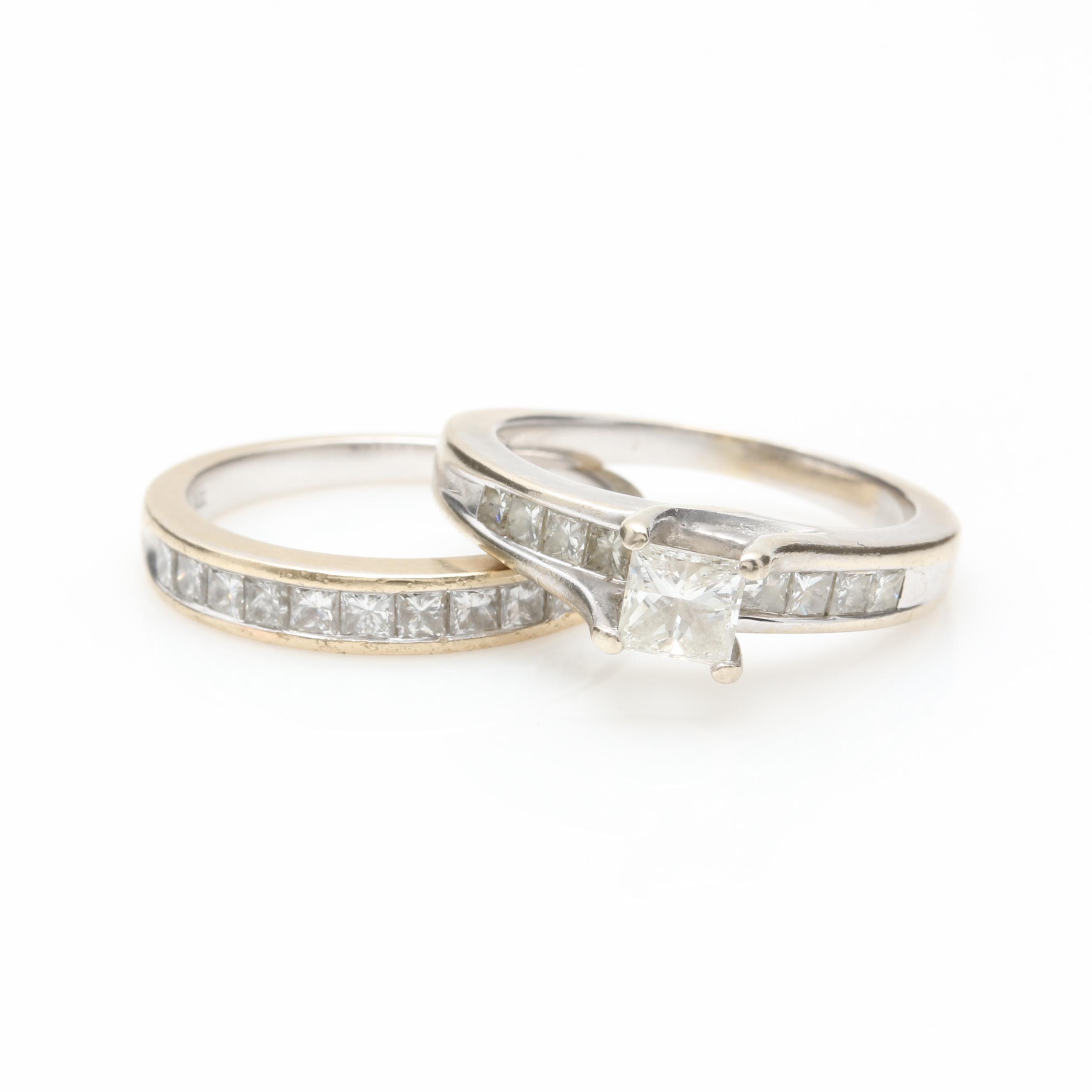 14K and 18K White Gold 1.50 CTW Diamond Ring Set