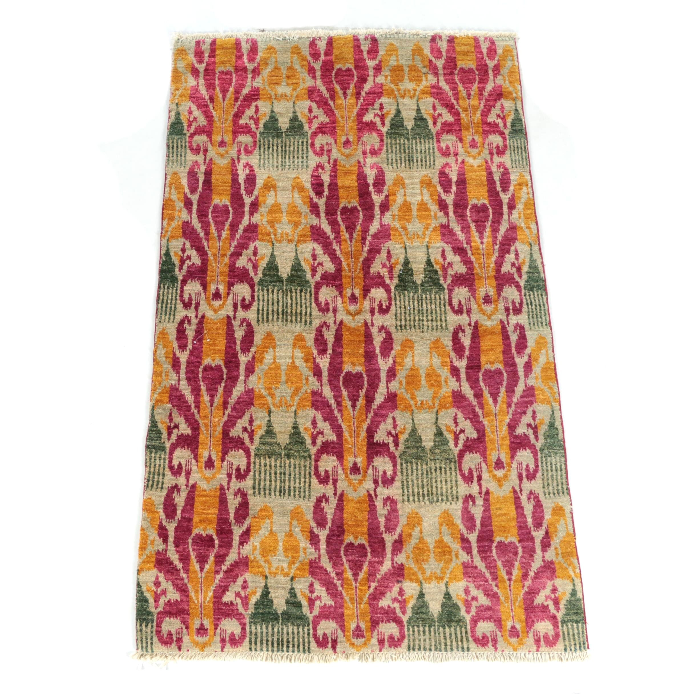 Hand-Knotted Looped Pile Ikat Pattern Wool and Cotton Area Rug