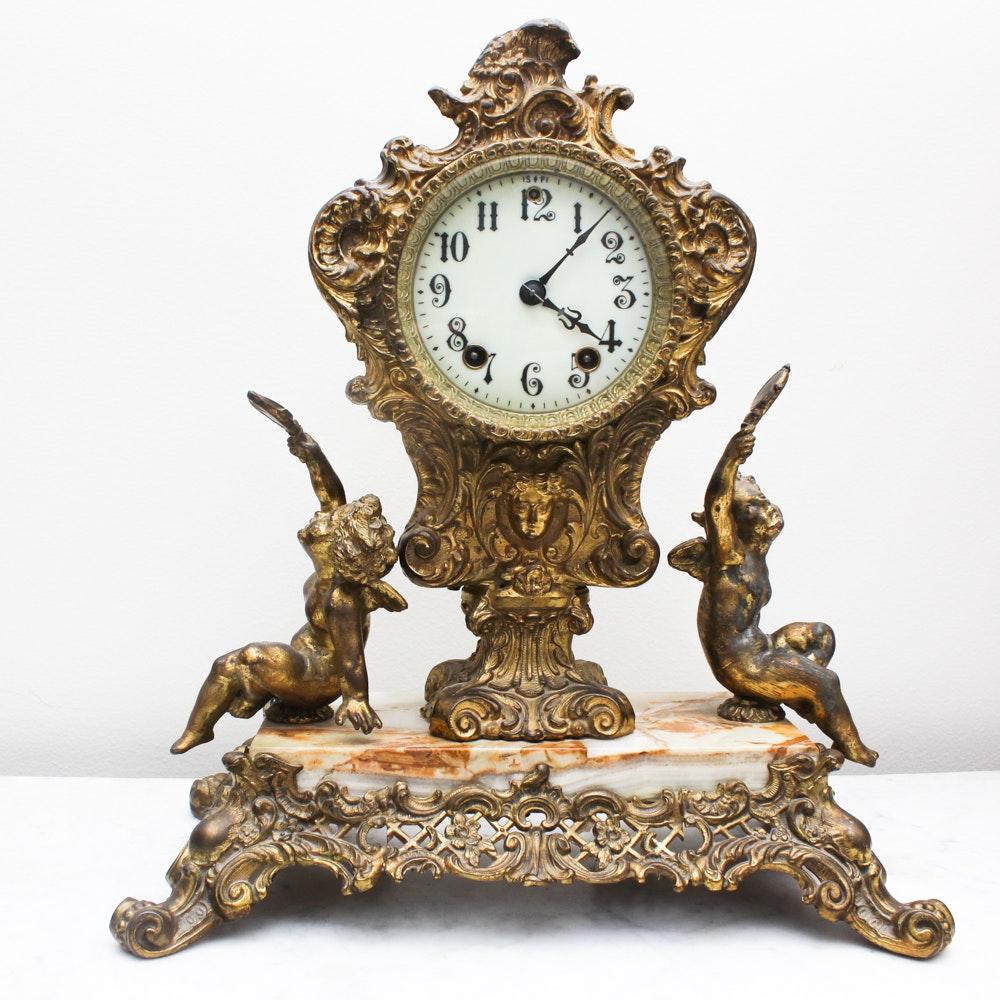 Ornate Brass Mantle Clock from Gilbert Clock