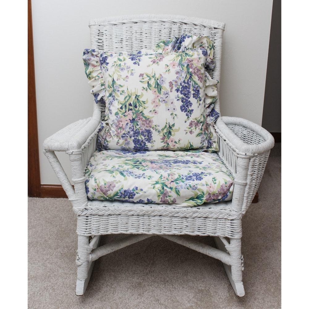 Vintage White Wicker Rocking Chair ...
