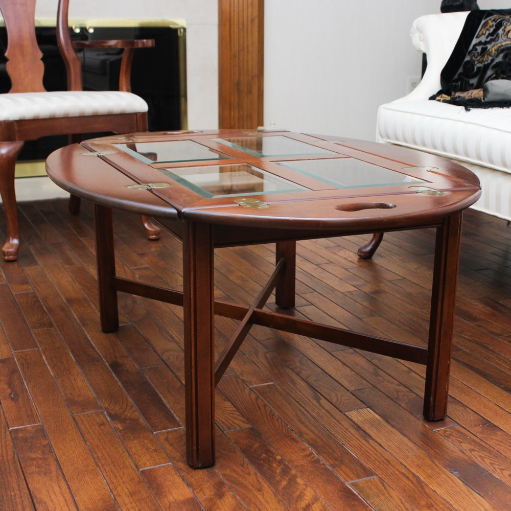 Cherry Butler's Table with Beveled Glass Panel Top