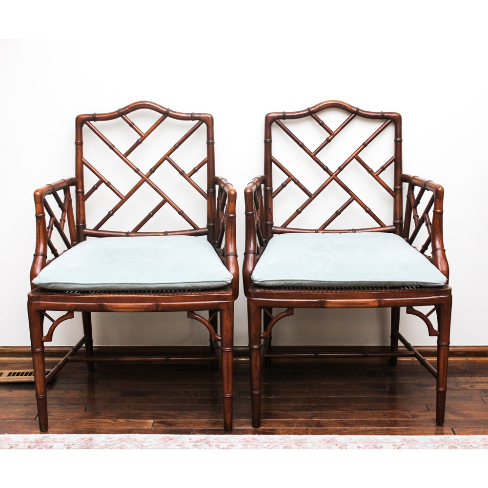 Vintage Brazilian Hardwood Armchairs with Cane Seats