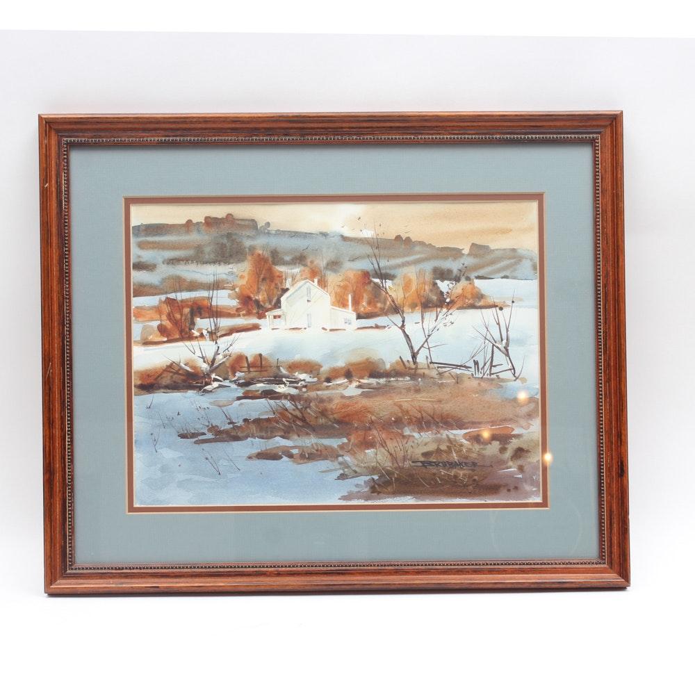 Robert Brubaker Watercolor Barn Scene