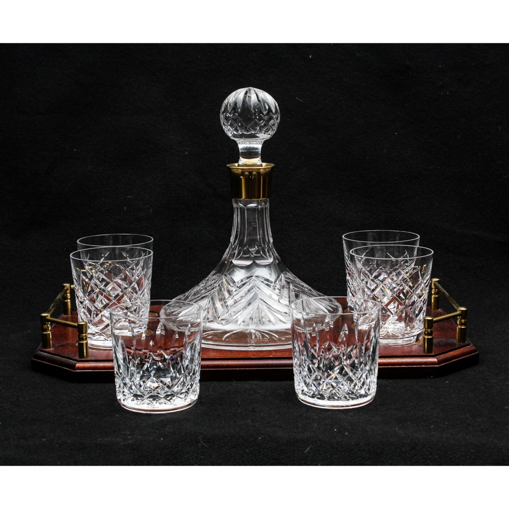 Waterford Crystal Ships' Decanter and Old Fashioned Glasses