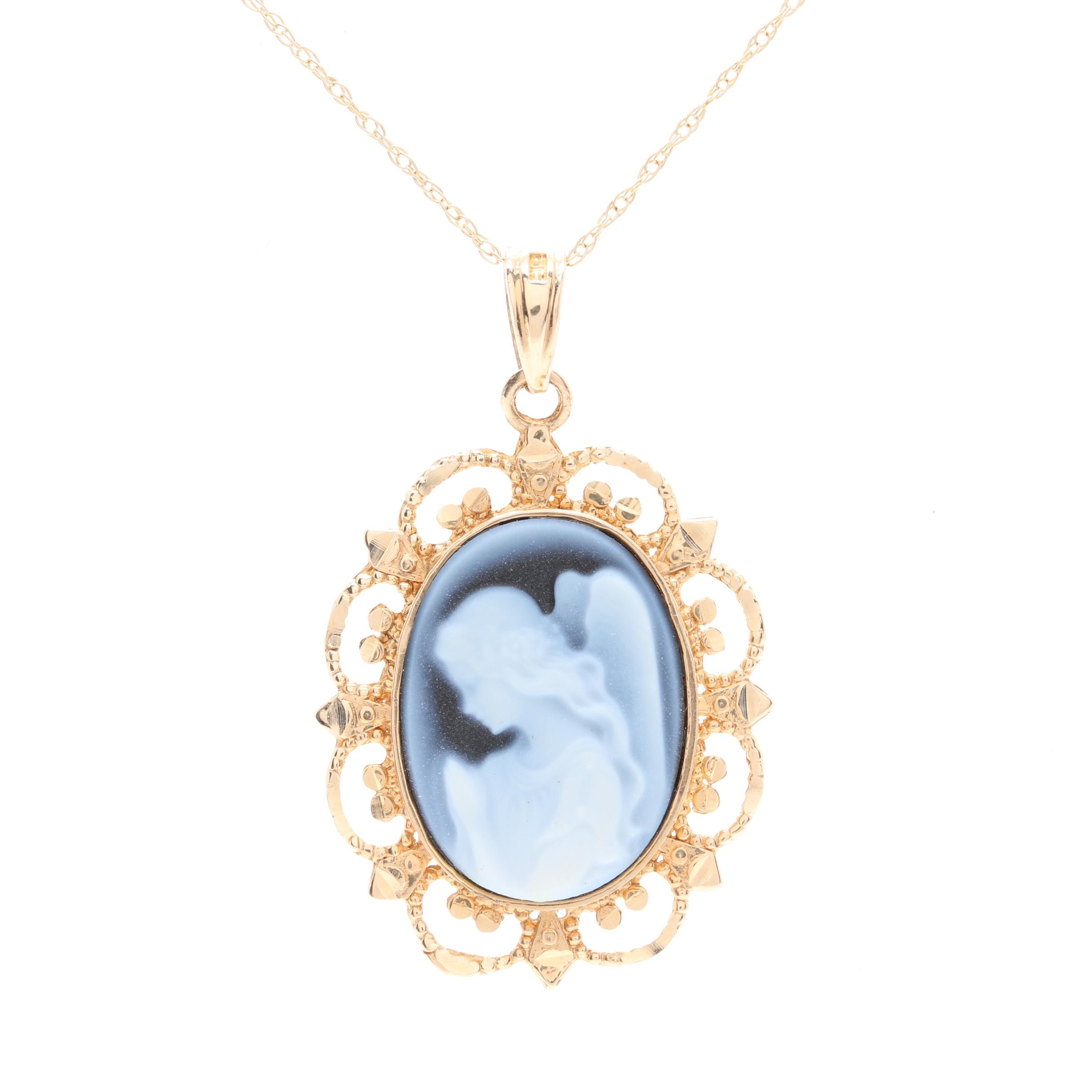 14K Yellow Gold Carved Onyx Cameo Pendant Necklace