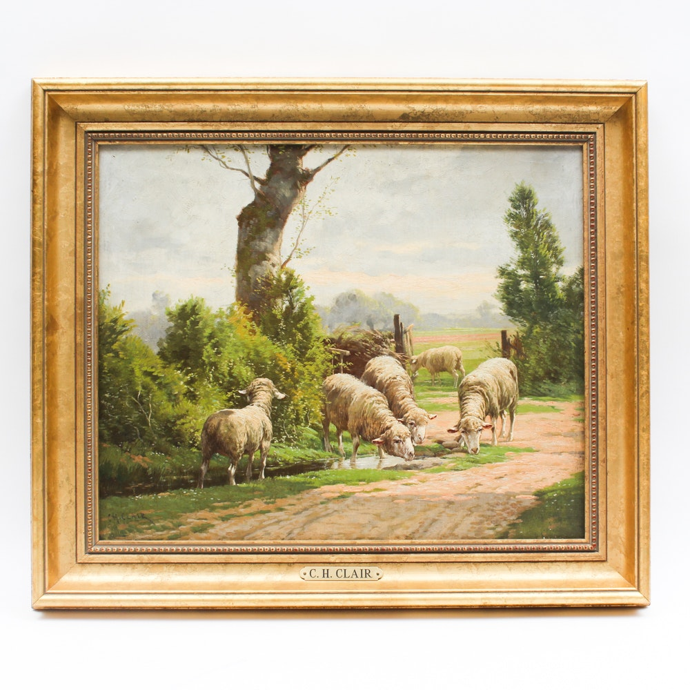 Charles H. Clair Oil on Canvas Landscape with Sheep