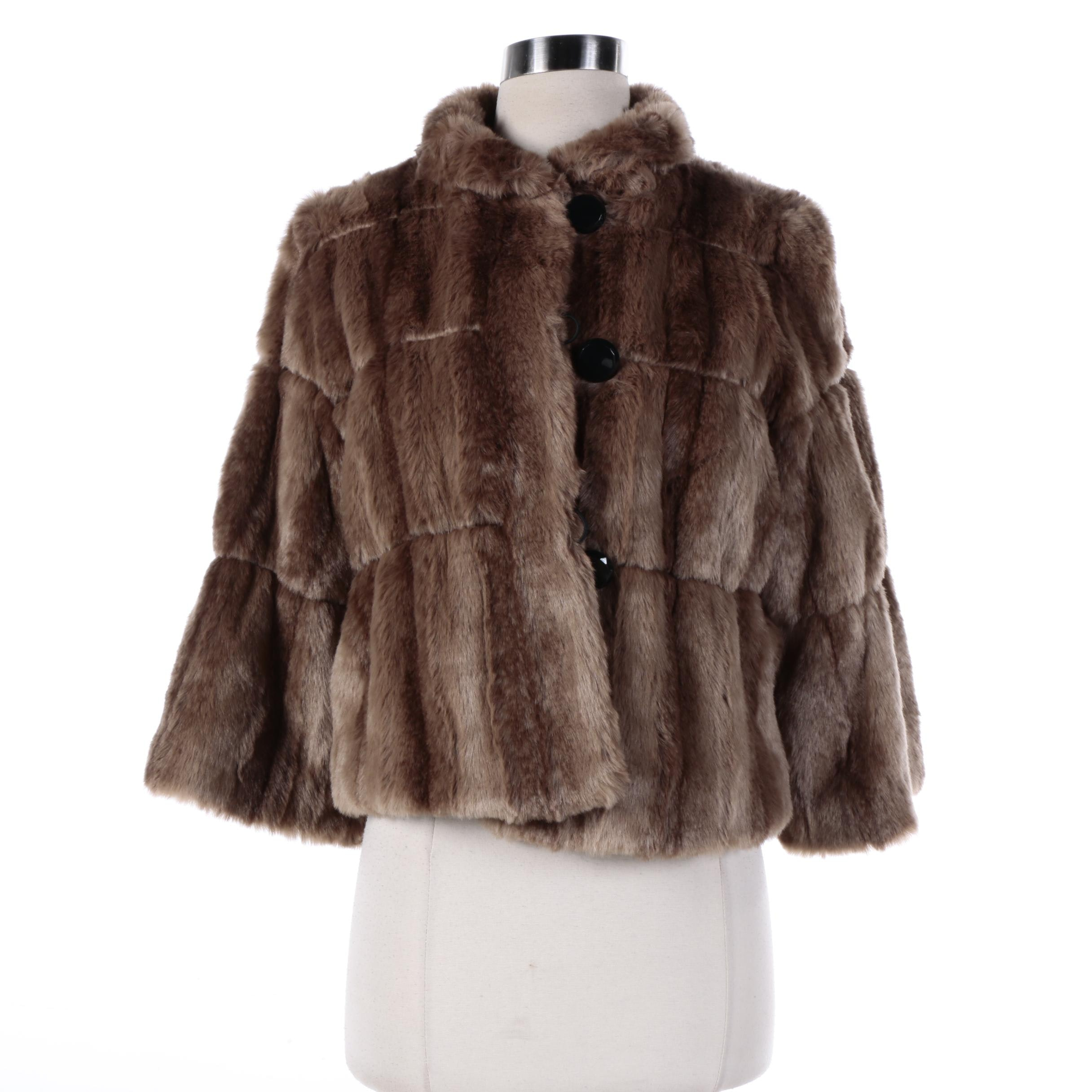 Women's INC Brown Faux Fur Jacket