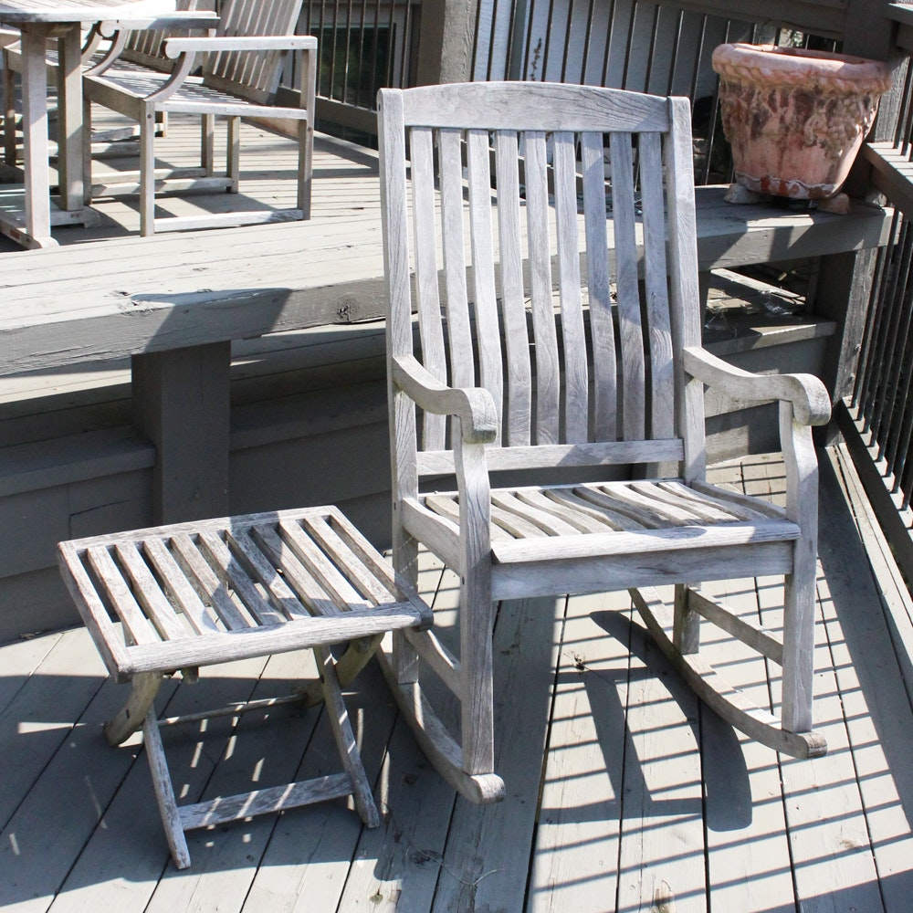 Teak Outdoor Rocking Chair with Folding Table