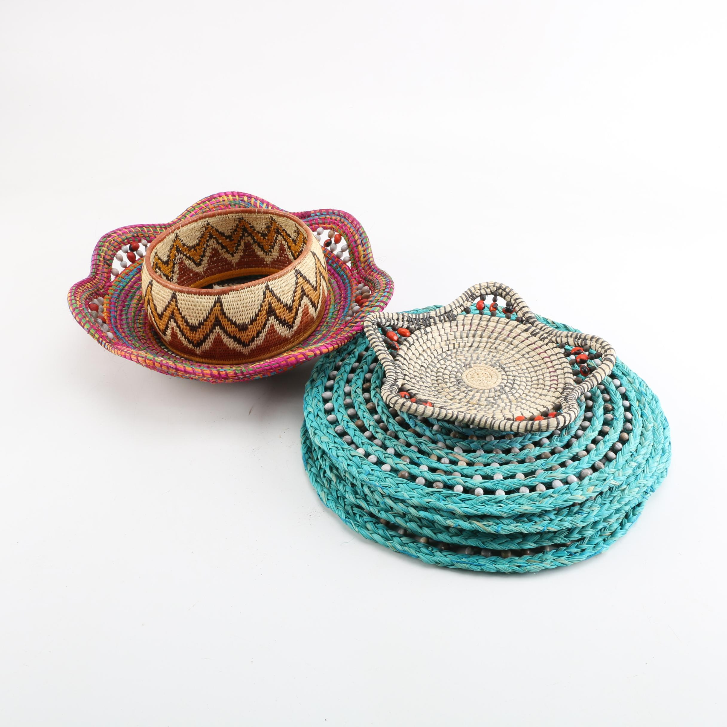 Colorful Woven Bowls and Placemats with Wooden Bead Accents, and Pedestal Base