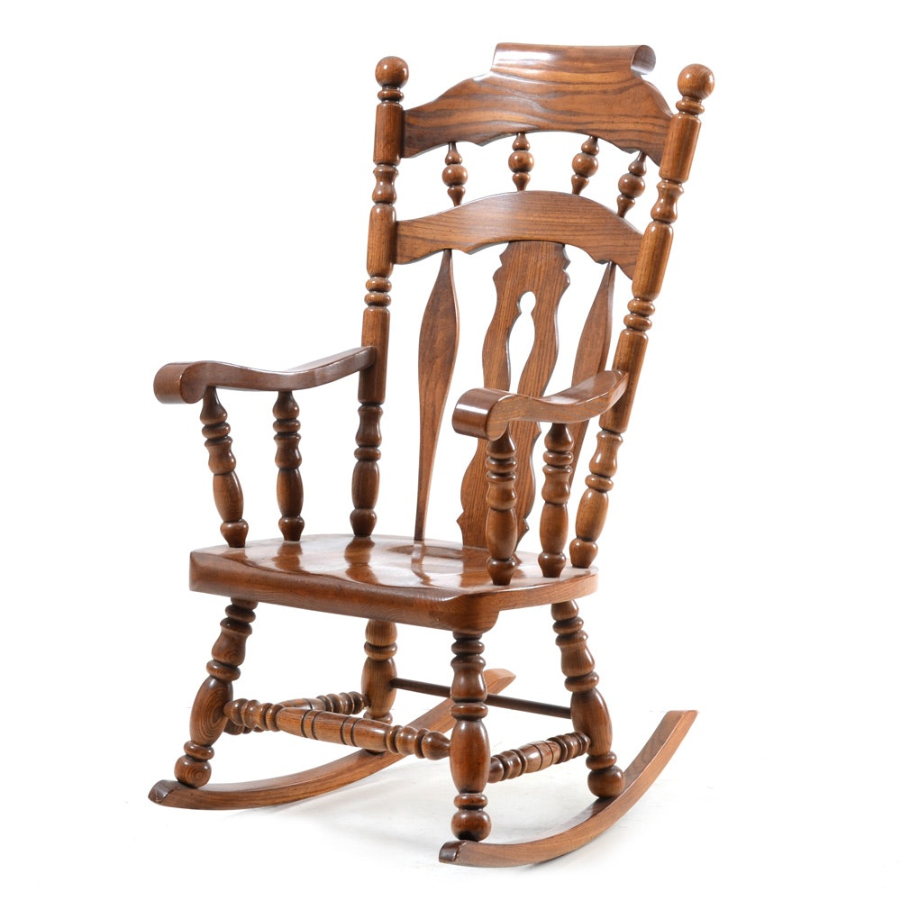 Colonial Style Oak Rocking Chair ...