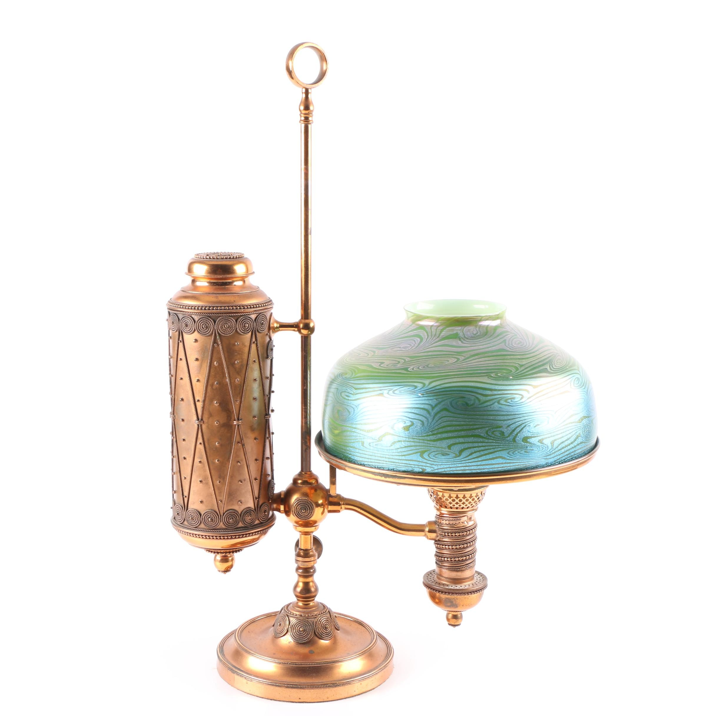 Tiffany Studios and Manhattan Brass Student Lamp with Favrile Glass Shade