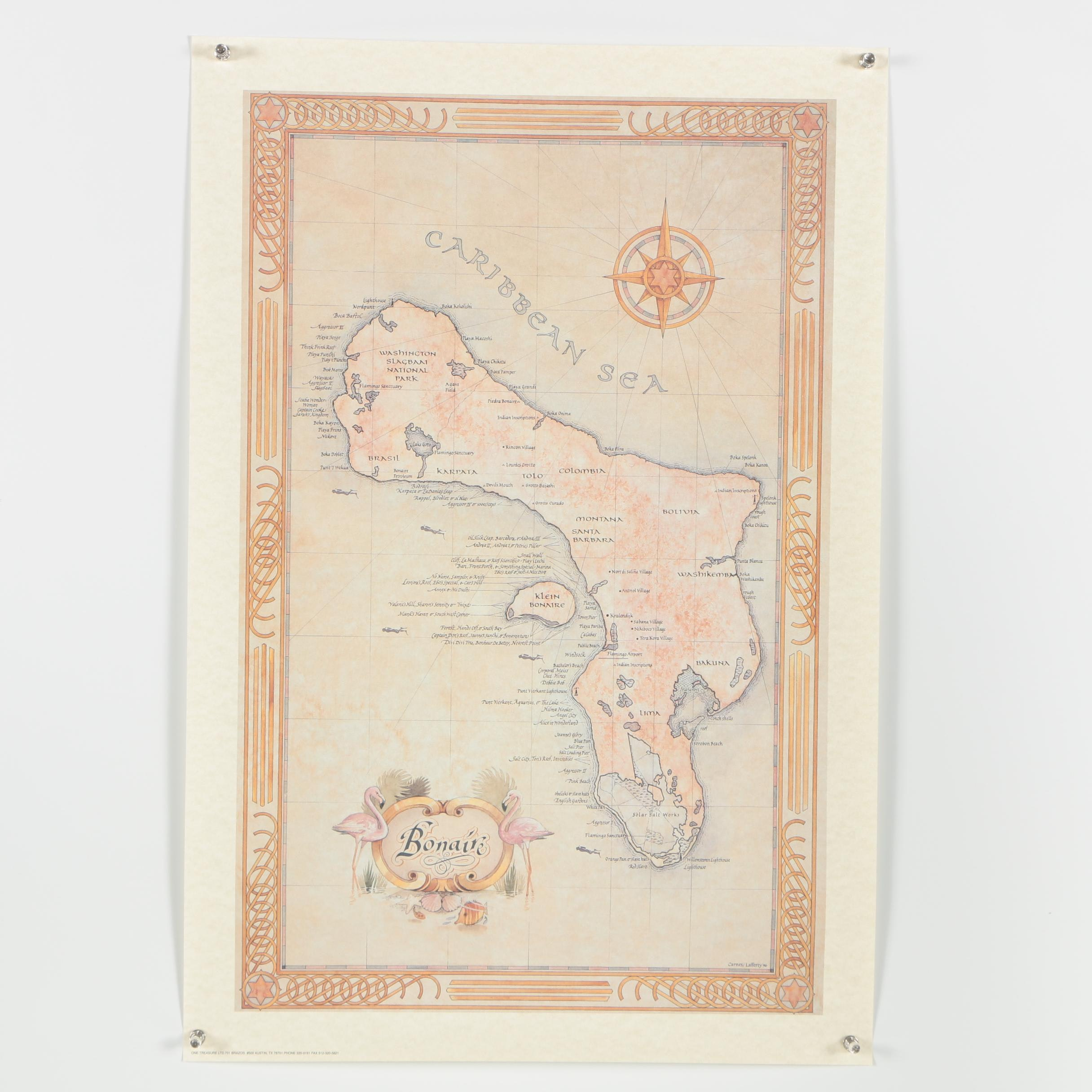 Offset Lithograph Map of Bonaire Island