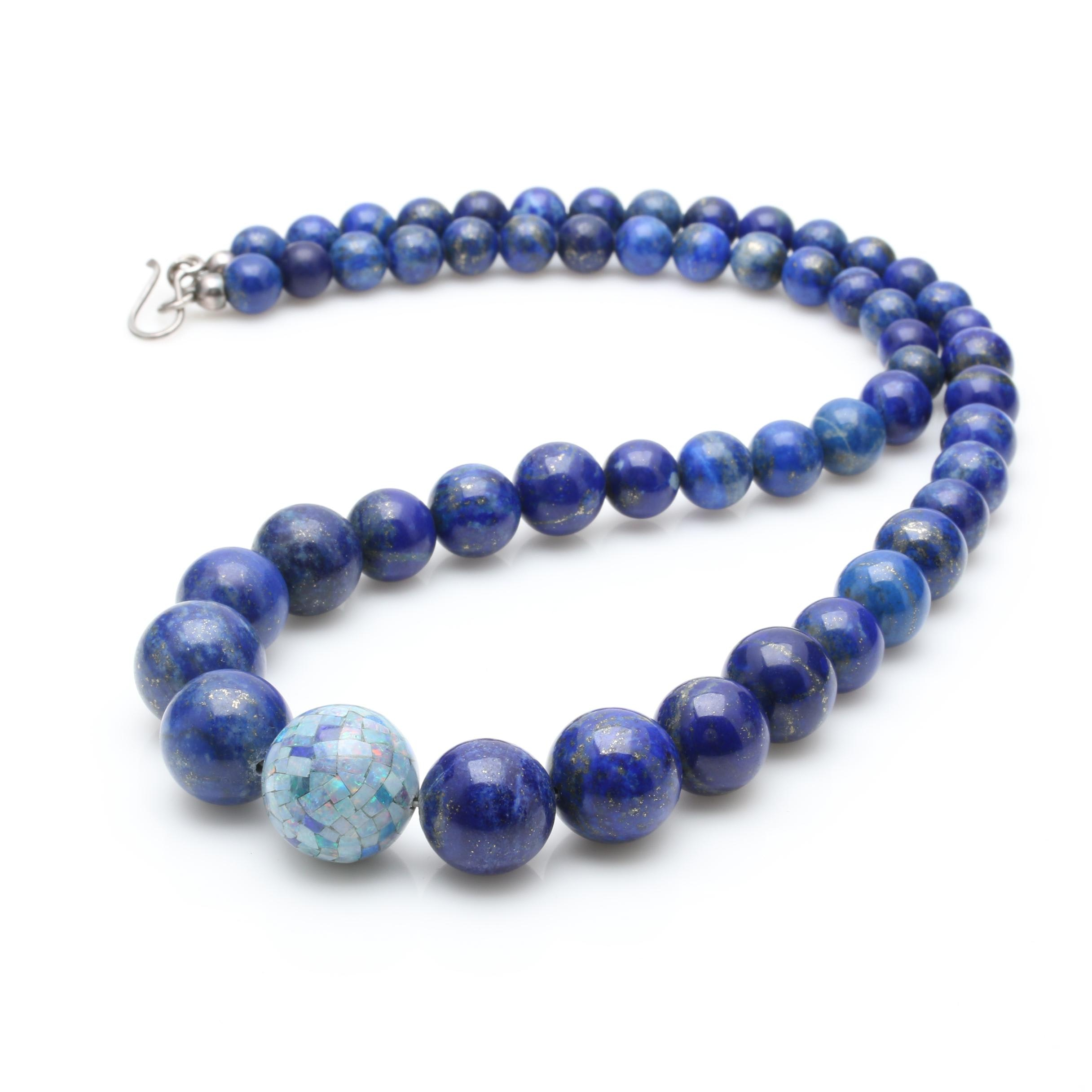 Sterling Silver Lapis Lazuli and Opal Mosaic Bead Necklace
