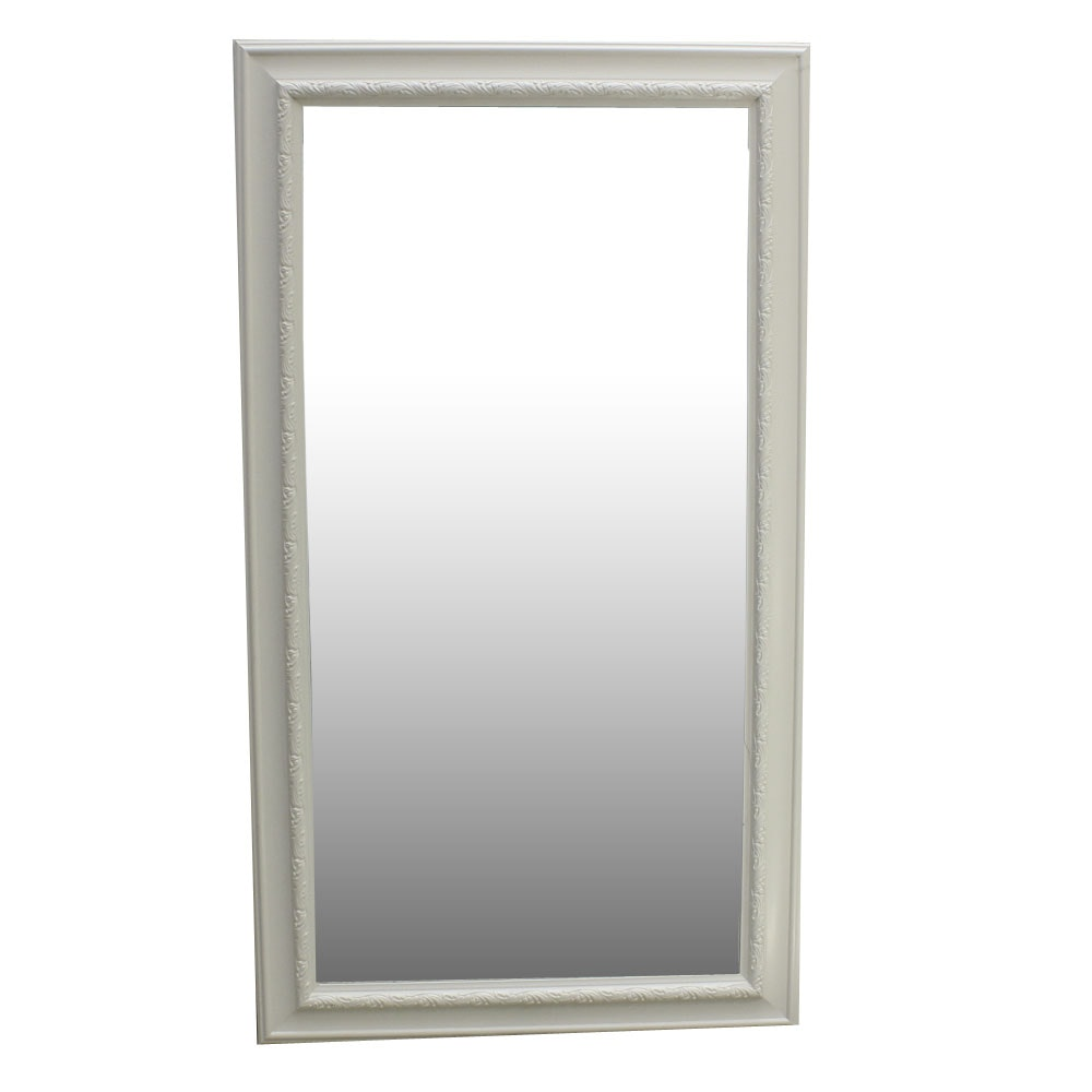 Large Rectangular Wall Mirror With White Frame