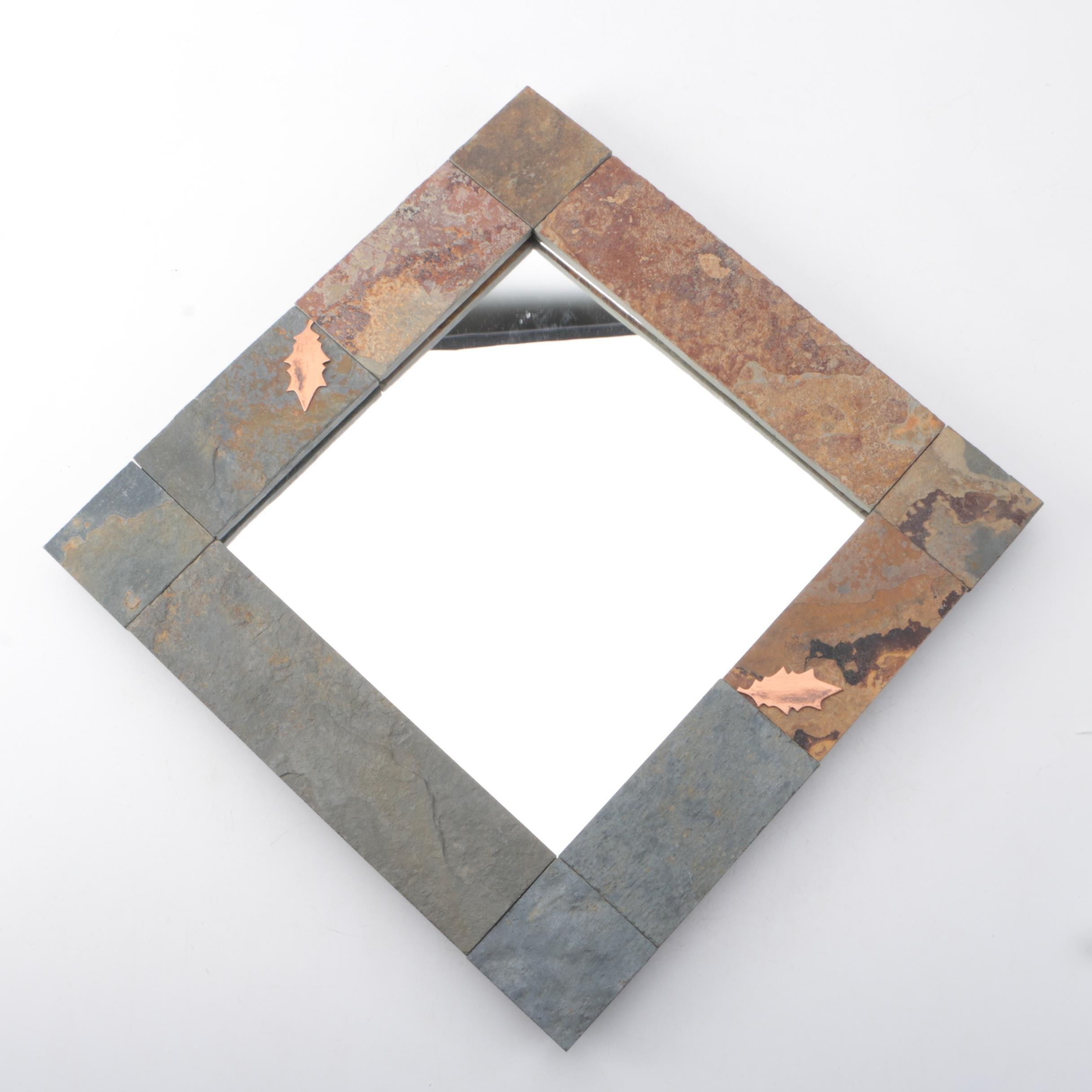 Slate Framed Diamond Shaped Wall Mirror