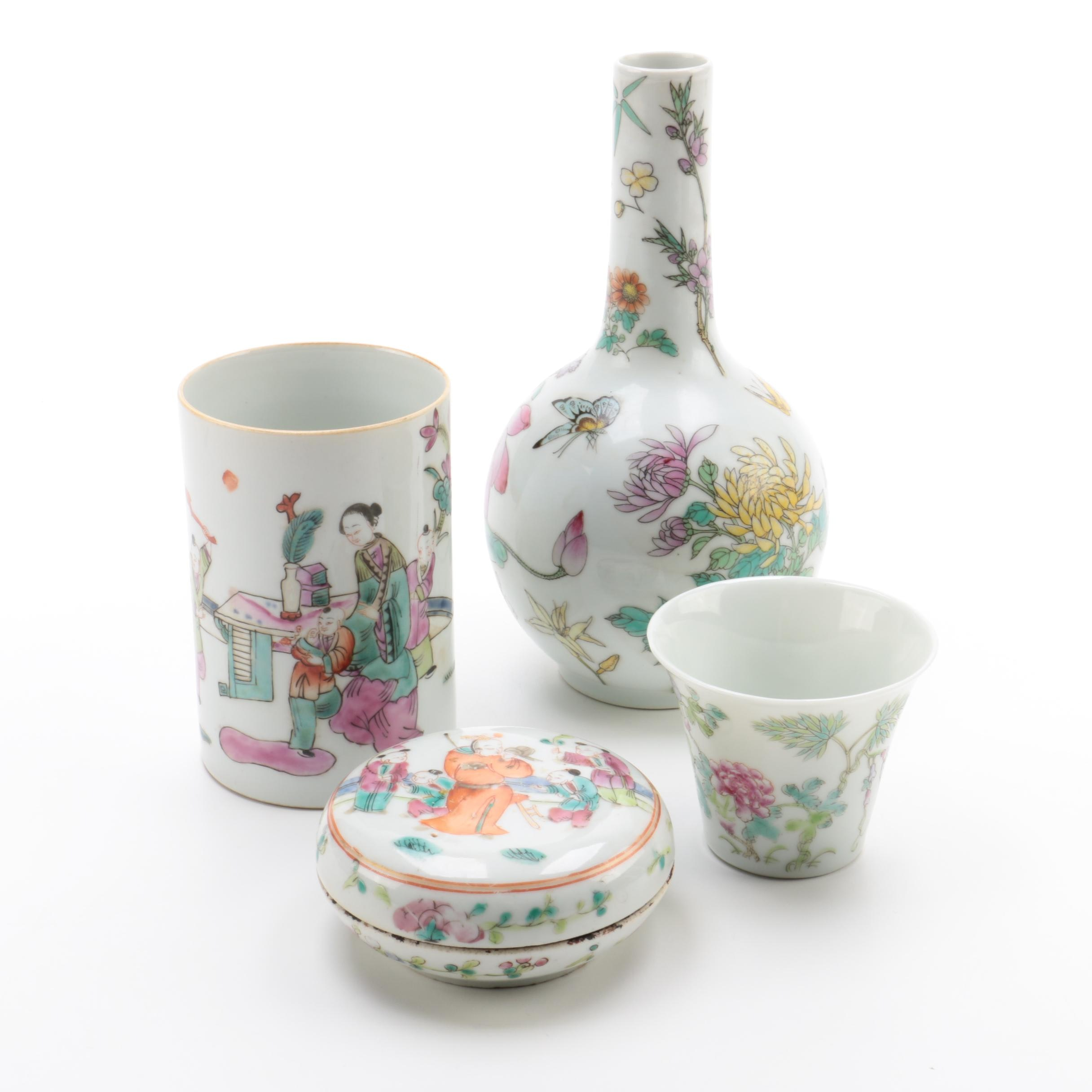 Chinese Antique and Vintage Porcelain Vases With Brush Pot and Covered Dish