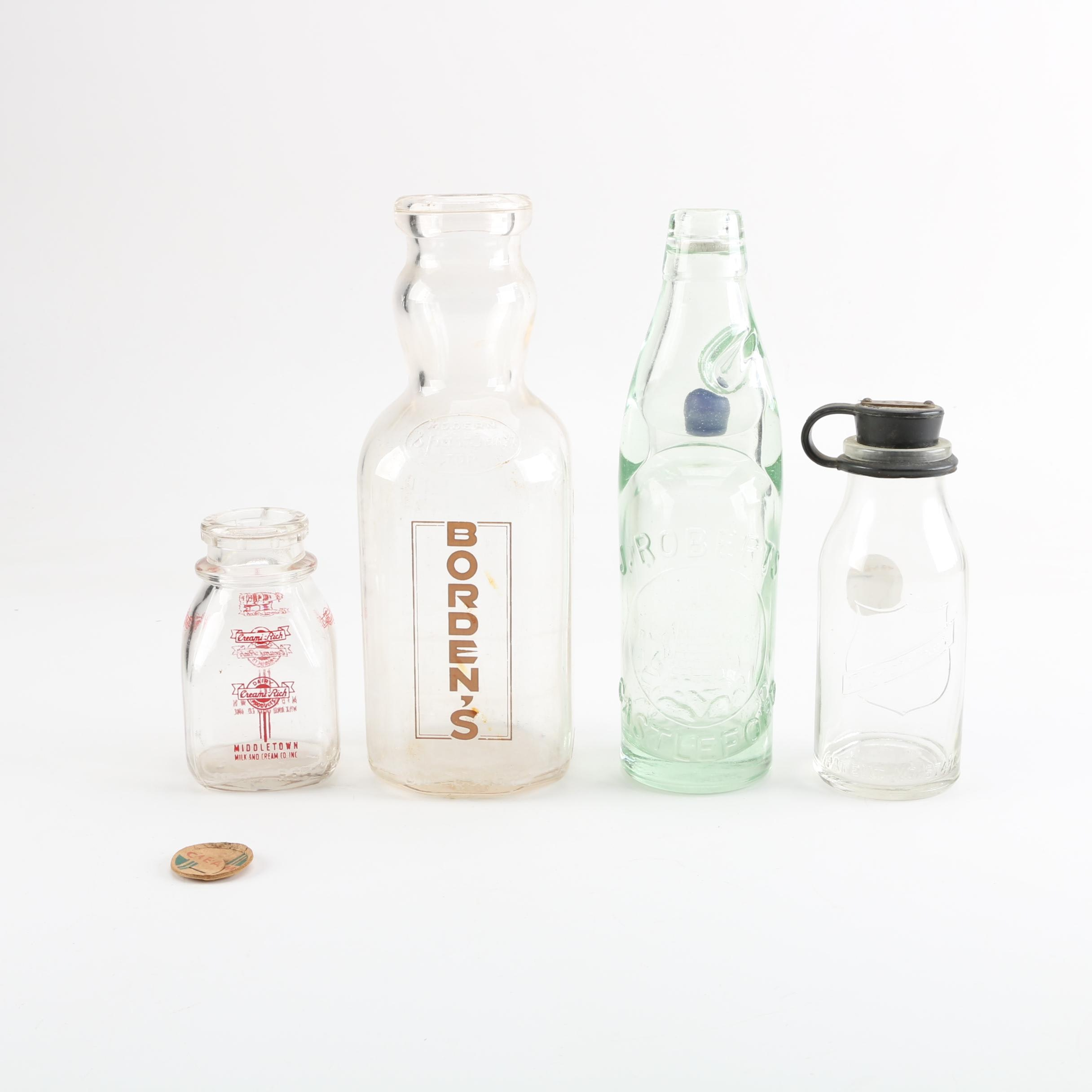 Codd Neck J Roberts of Castleford Soda Bottle and Glass Milk Bottles