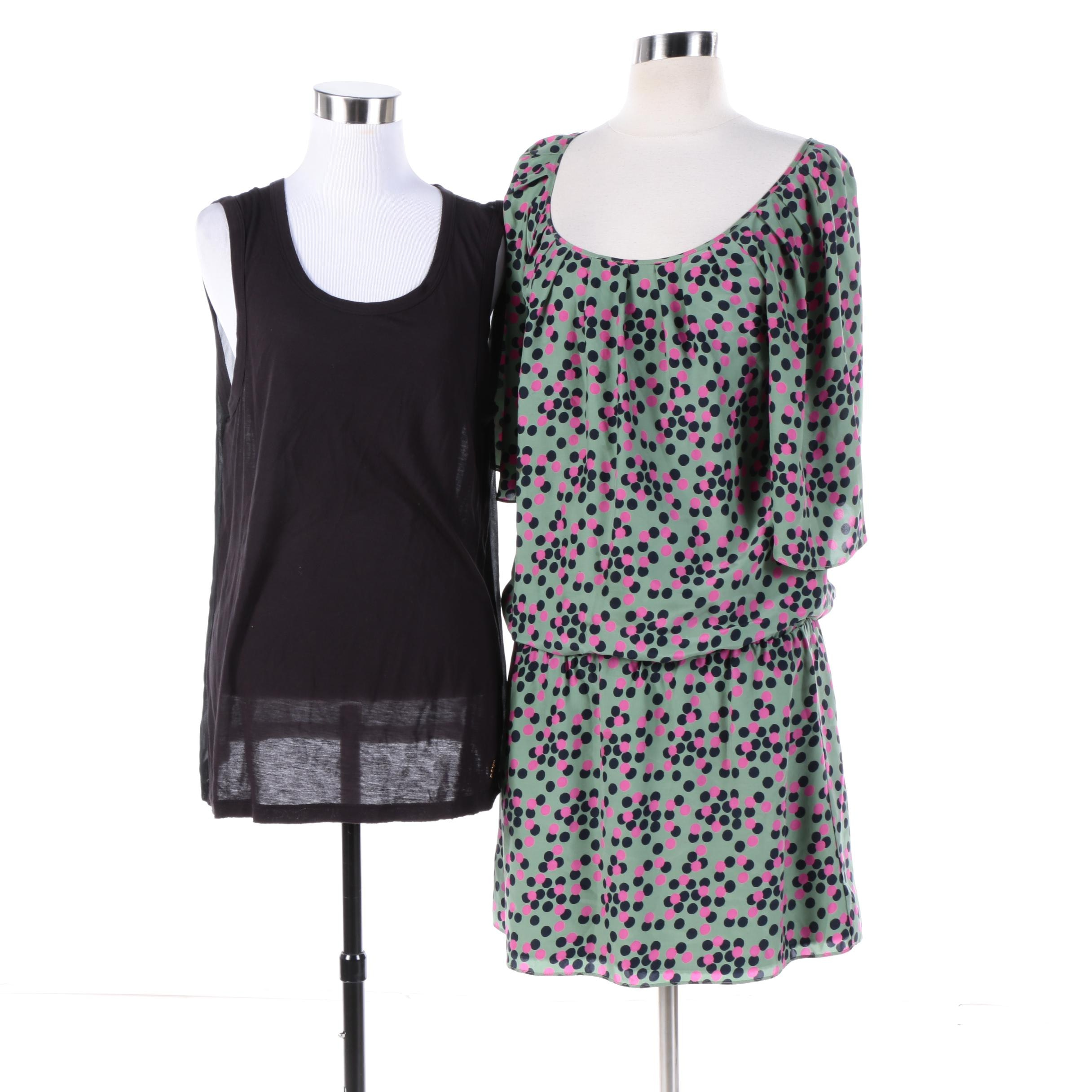 Women's Juicy Couture Silk Polka Dot Dress and Black Tank Top
