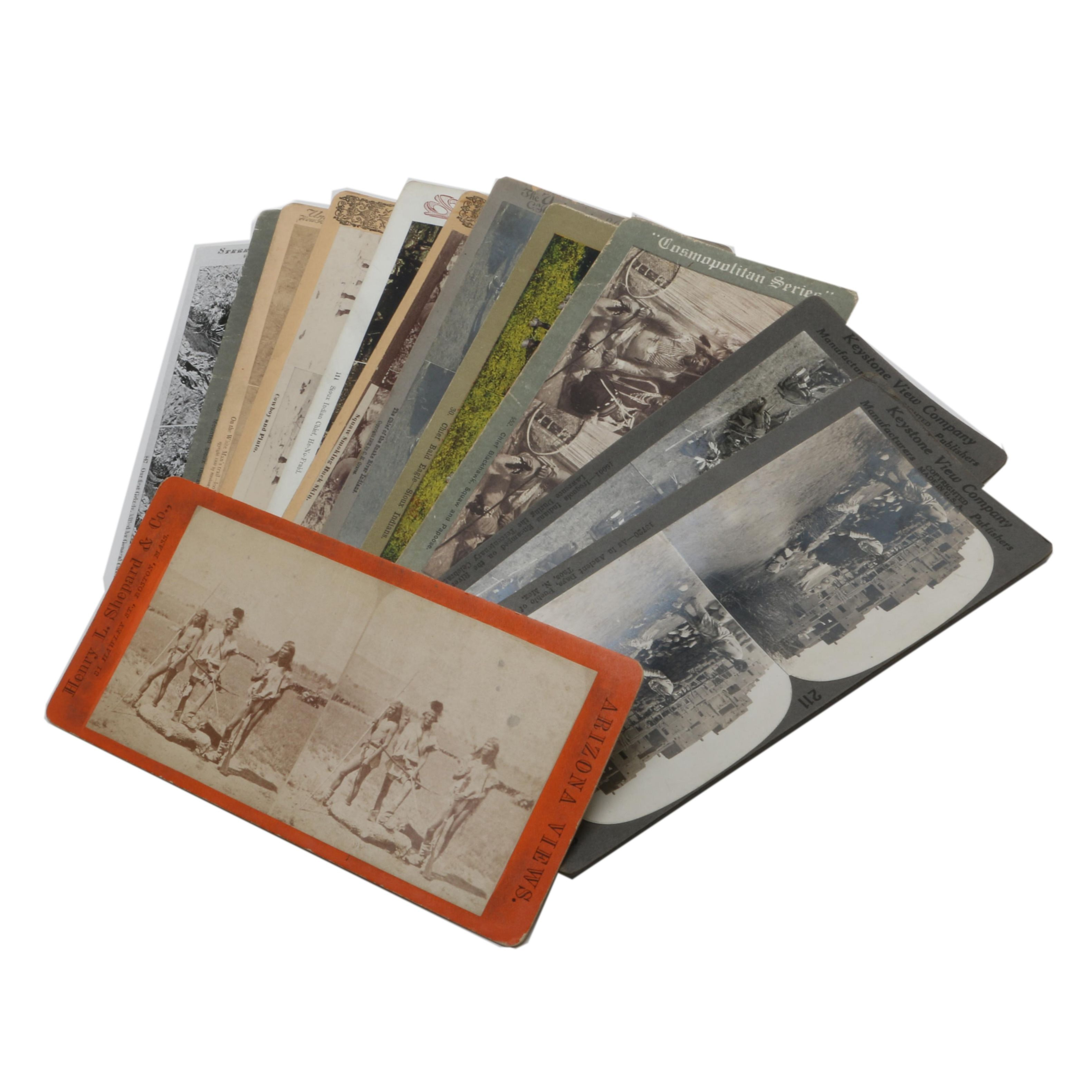 Assortment of Antique Western Themed Stereoview Cards
