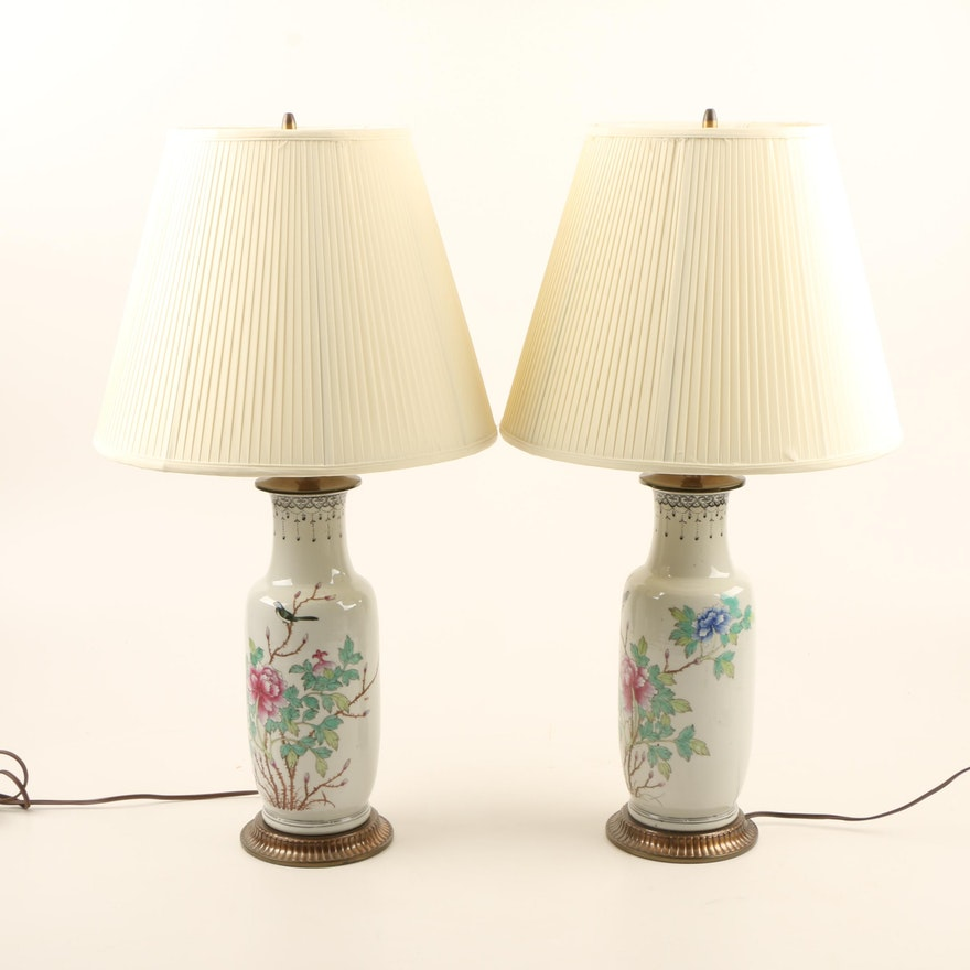 Pair Of Chinese Republic Era Porcelain Vase Lamps Ebth