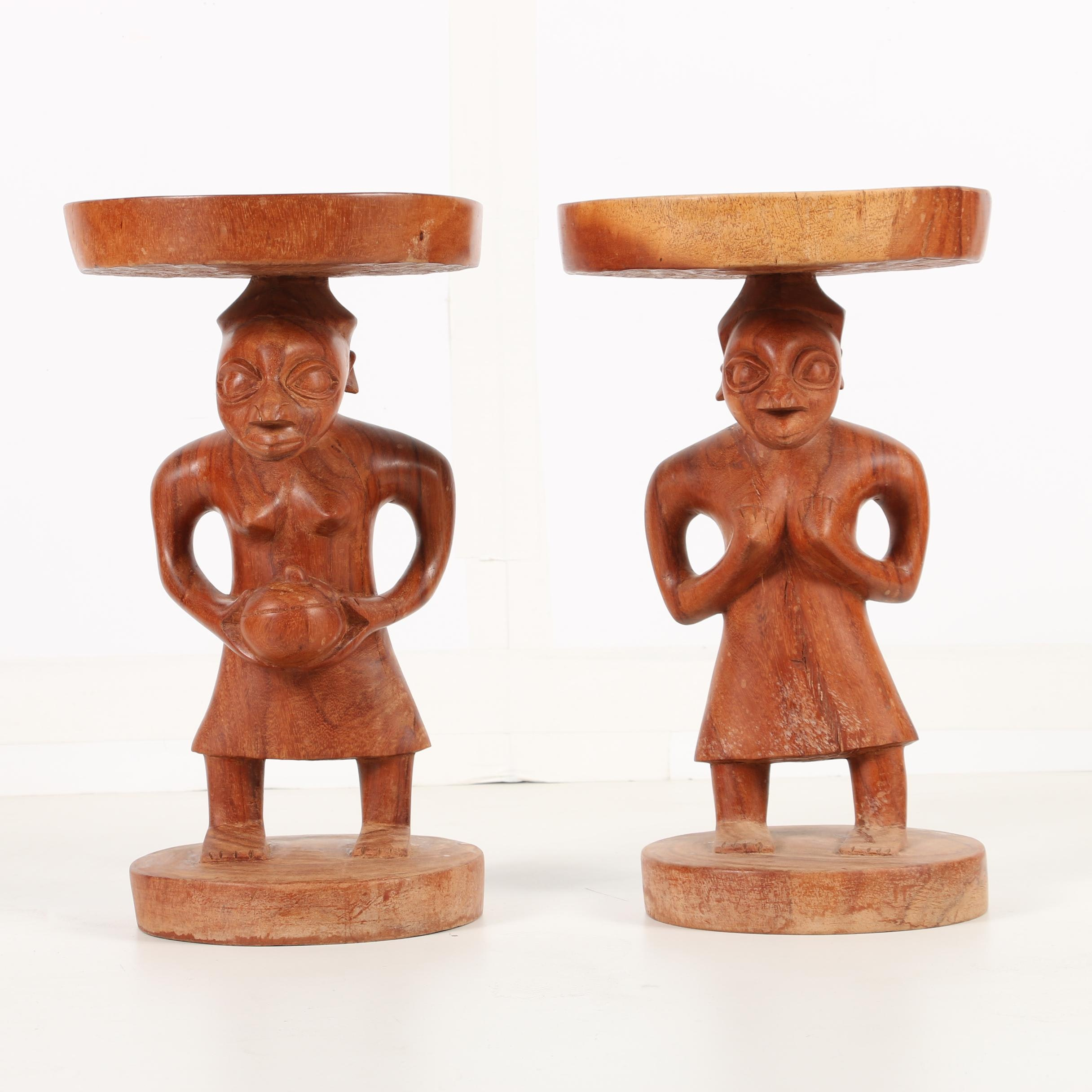 West African Carved Wooden Figural Stools