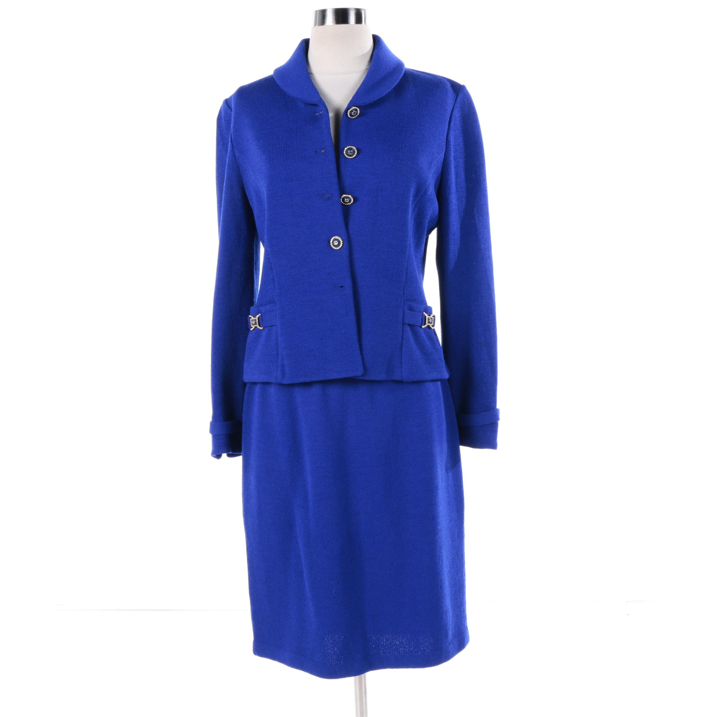 St. John Collection Blue Knit Suit with Shawl Collar and Enameled Buttons