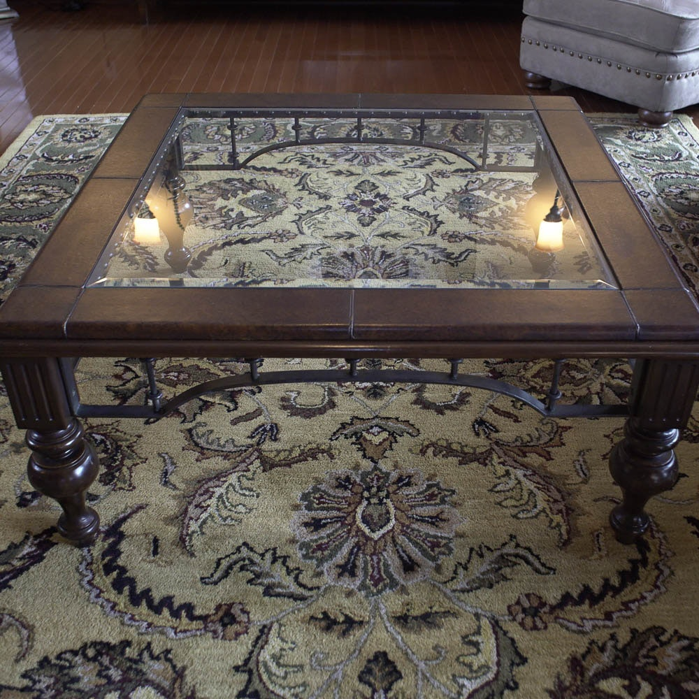 Glass Top Coffee Table with Faux Leather Trim