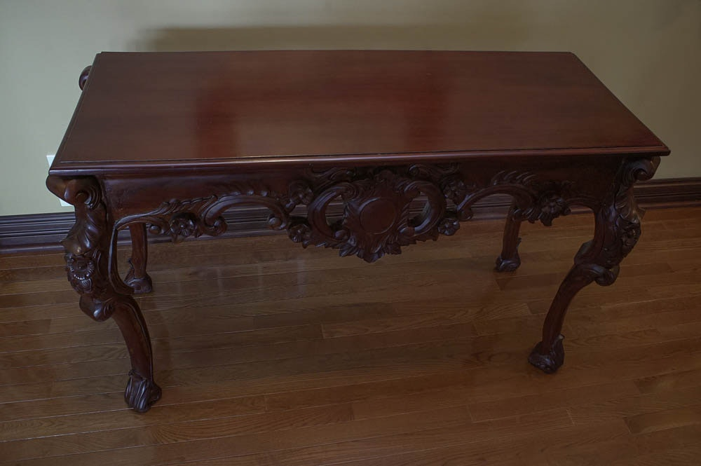 Carved Rococo Style Console Table